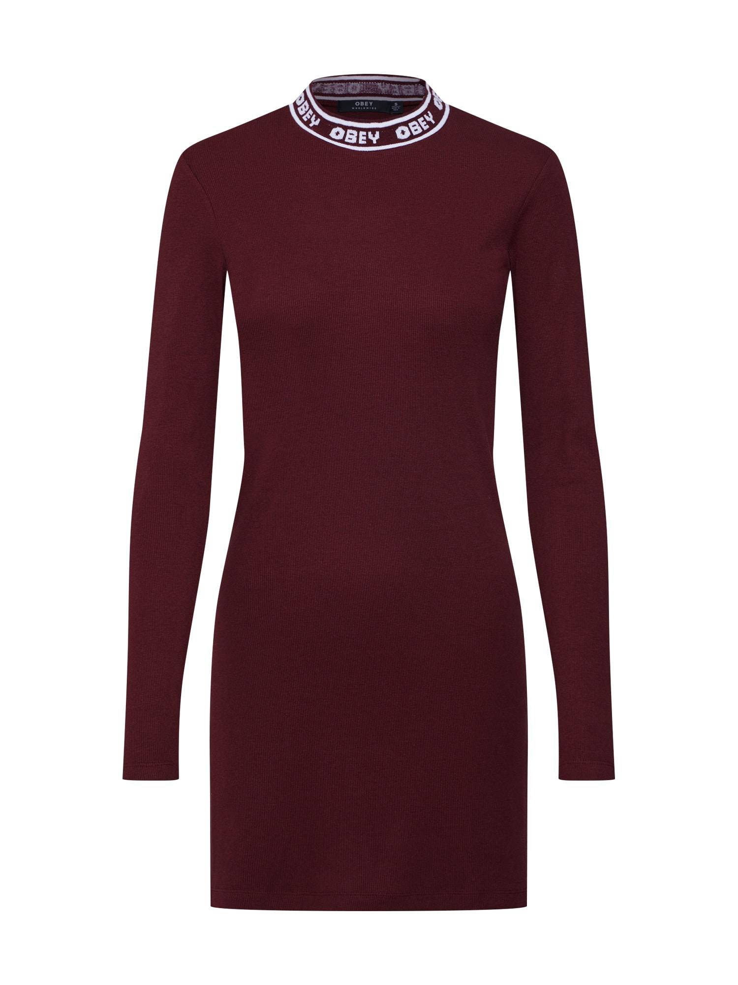Šaty STANTON DRESS vínově červená bílý melír Obey