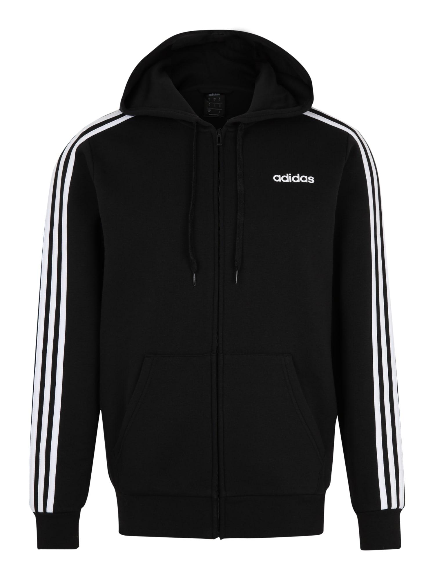 ADIDAS PERFORMANCE Sportinis džemperis 'E 3S FZ FL' juoda / balta