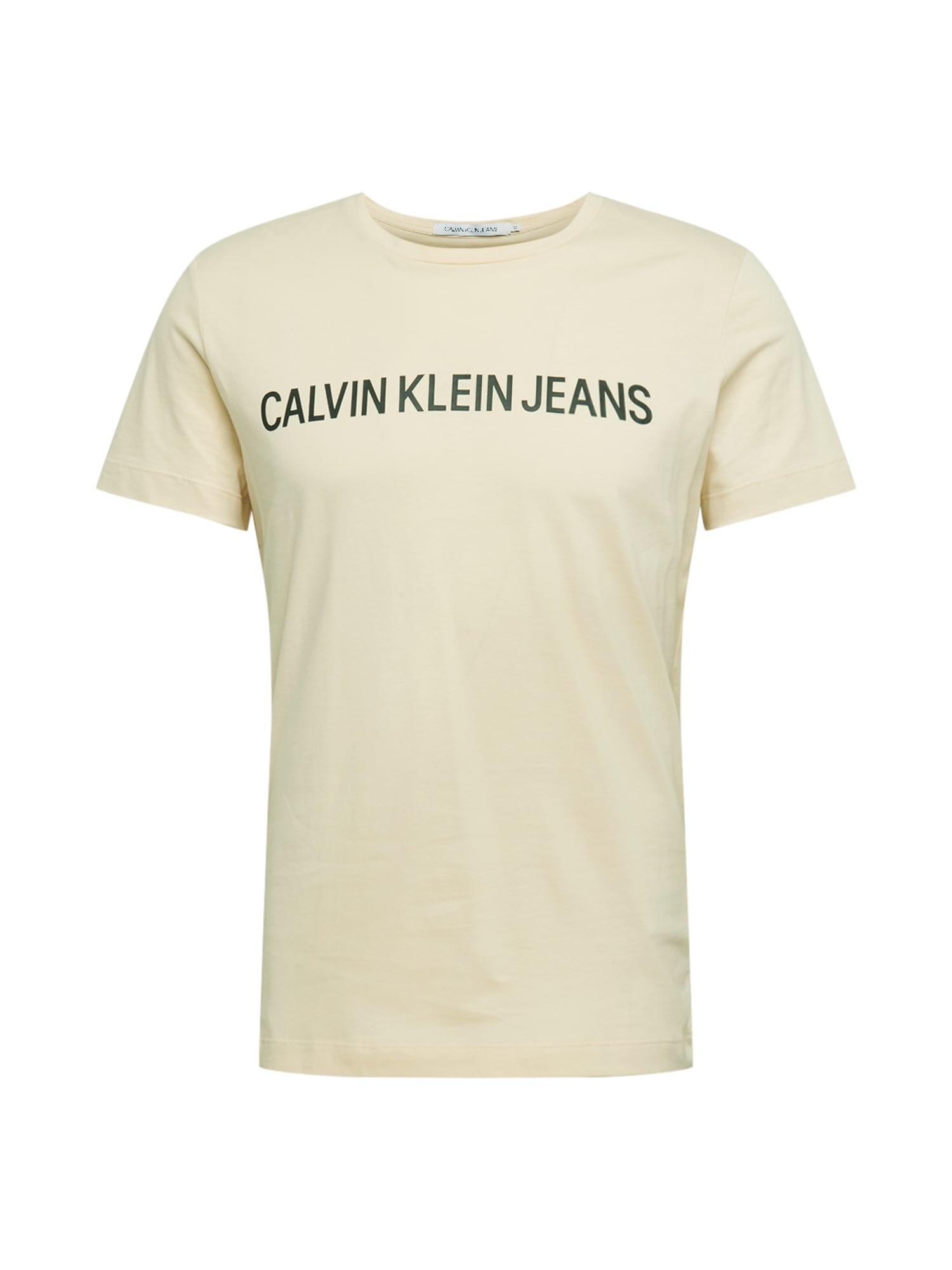 Calvin Klein Jeans Tričko  krémová / čierna