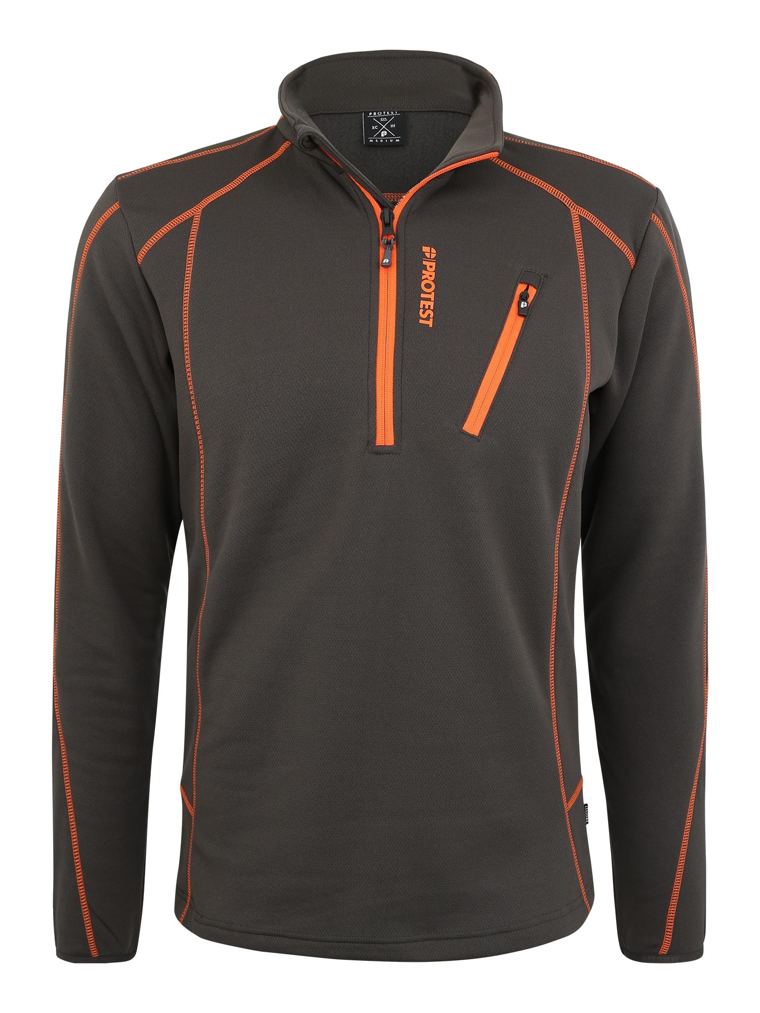PROTEST Sportinis megztinis 'Humany' juoda / oranžinė