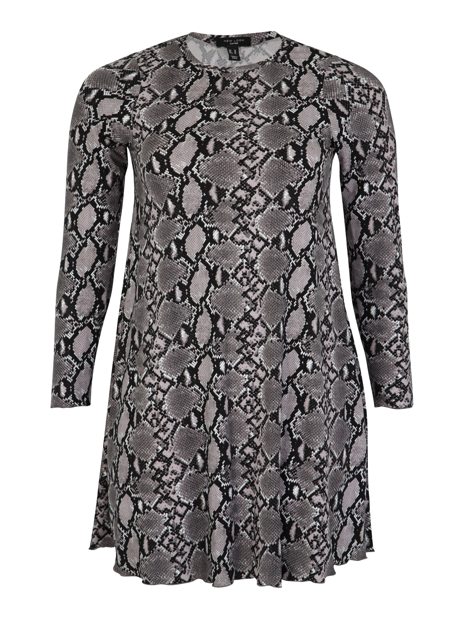 Šaty SNAKE SOFT TOUCH šedá černá bílá New Look Curves