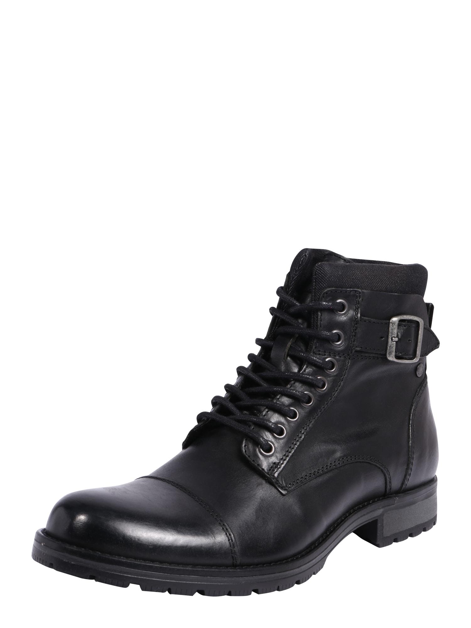 JACK & JONES Auliniai batai su raišteliais juoda