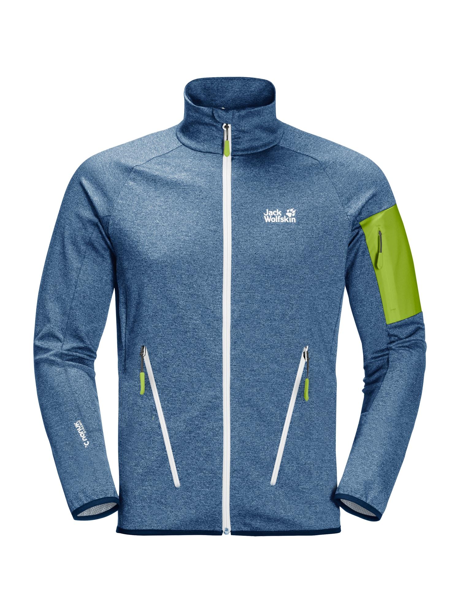 JACK WOLFSKIN Sportinė striukė 'MILFORD' tamsiai (džinso) mėlyna / neoninė žalia