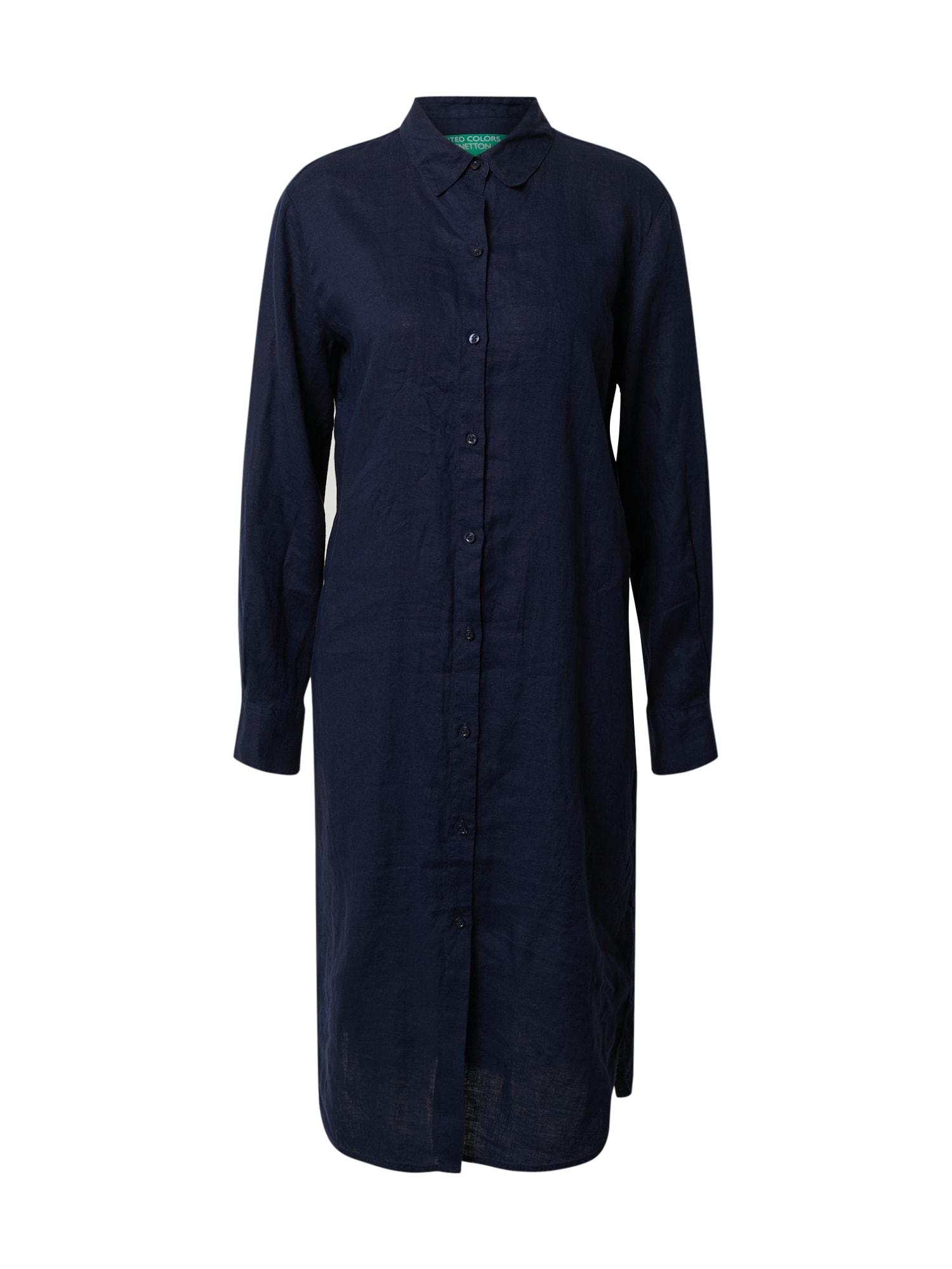 UNITED COLORS OF BENETTON Košeľové šaty  tmavomodrá