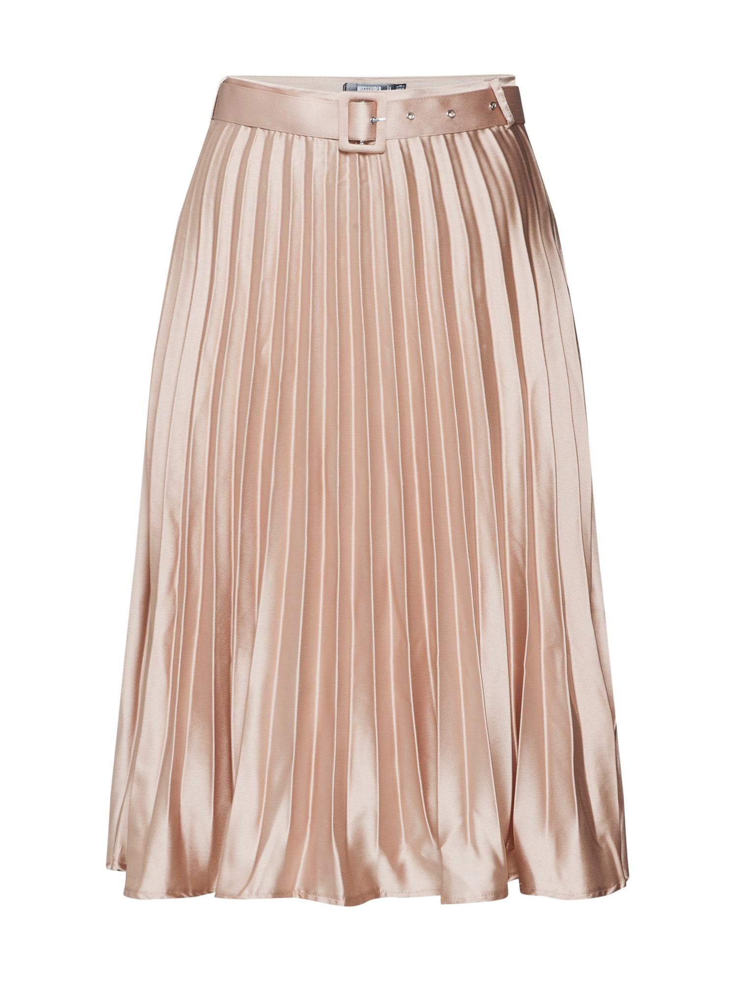 Missguided Fustă 'Belted Pleated Midi Skirt'  șampanie