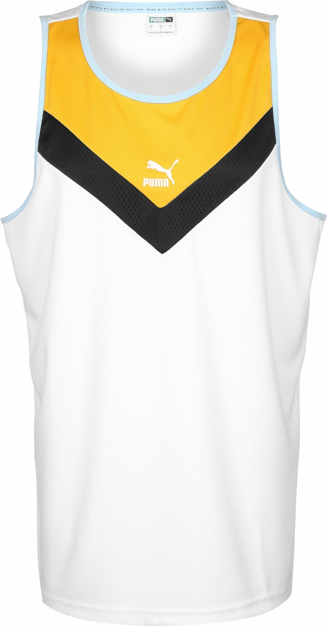 PUMA Marškinėliai geltona / juoda / balta