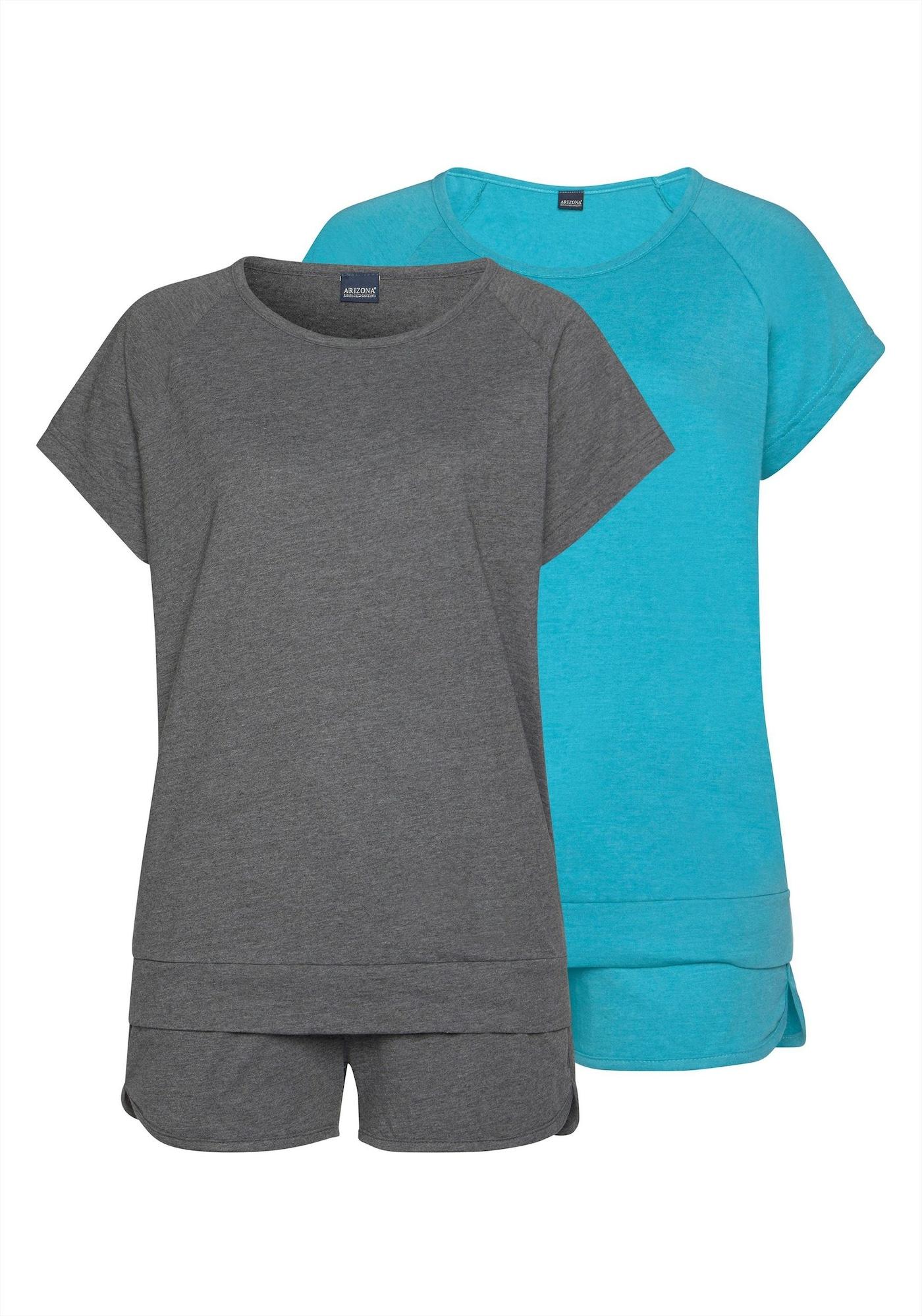 ARIZONA Pižaminiai šortukai neoninė mėlyna / tamsiai pilka