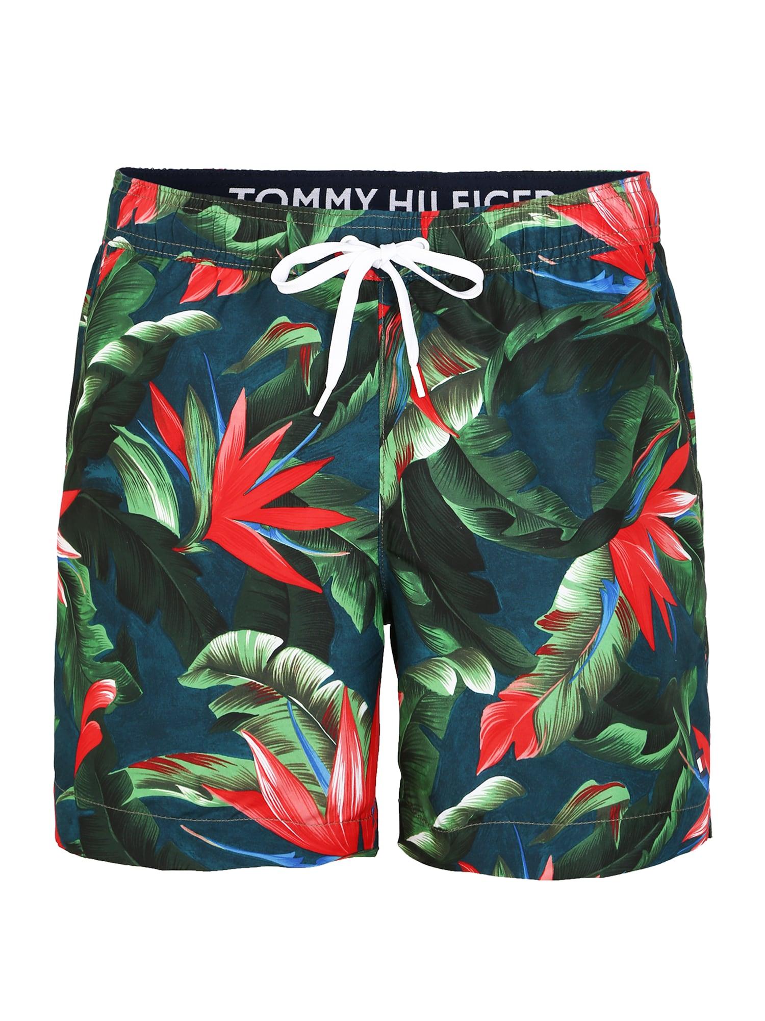 Tommy Hilfiger Underwear Maudymosi trumpikės 'MEDIUM DRAWSTRING-PRINT' žalia