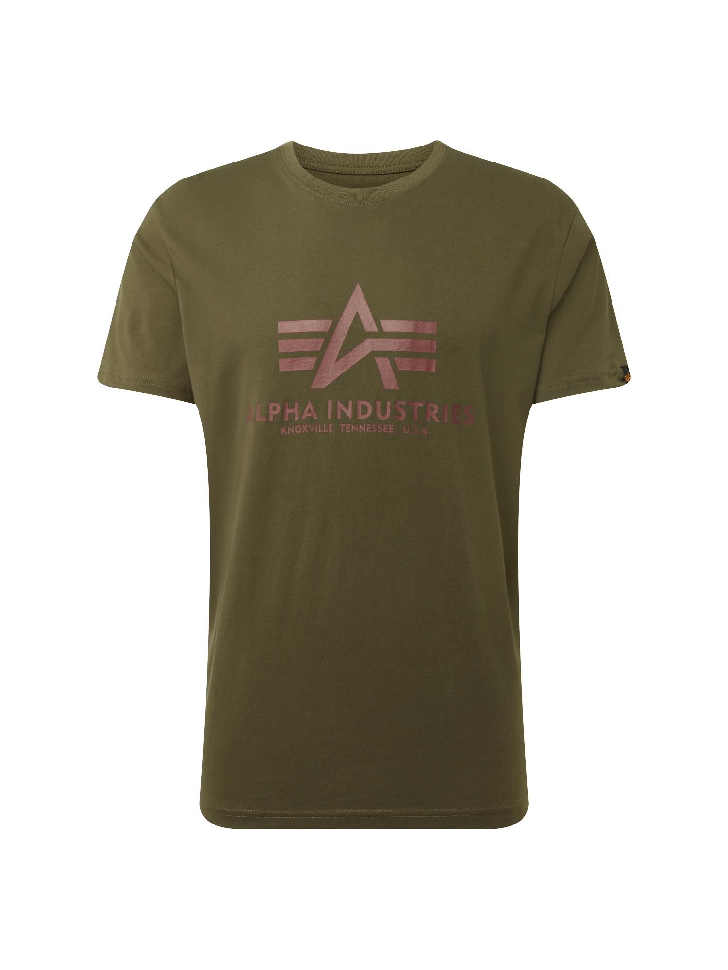 ALPHA INDUSTRIES Marškinėliai tamsiai žalia / fuksijų spalva