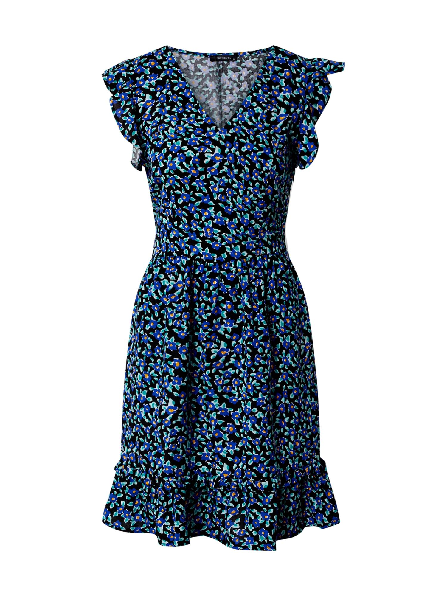 Trendyol Vasarinė suknelė mėlyna / žalsvai mėlyna / juoda / rožinė