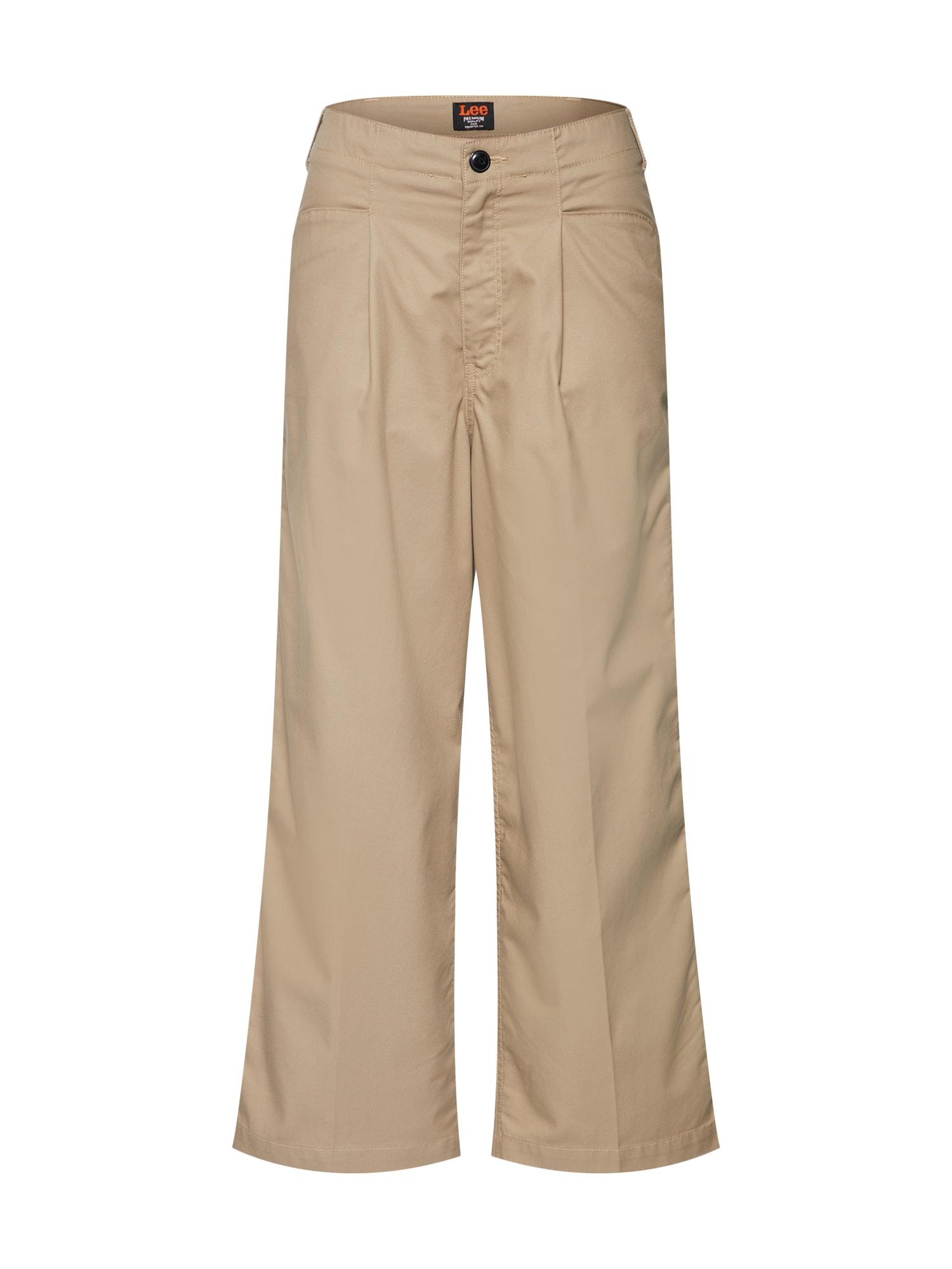 Kalhoty se sklady v pase béžová Lee