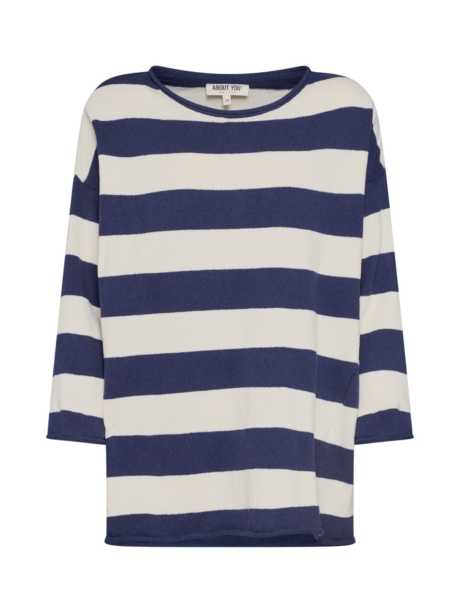 ABOUT YOU Megztinis 'Thalisa' kremo / mėlyna