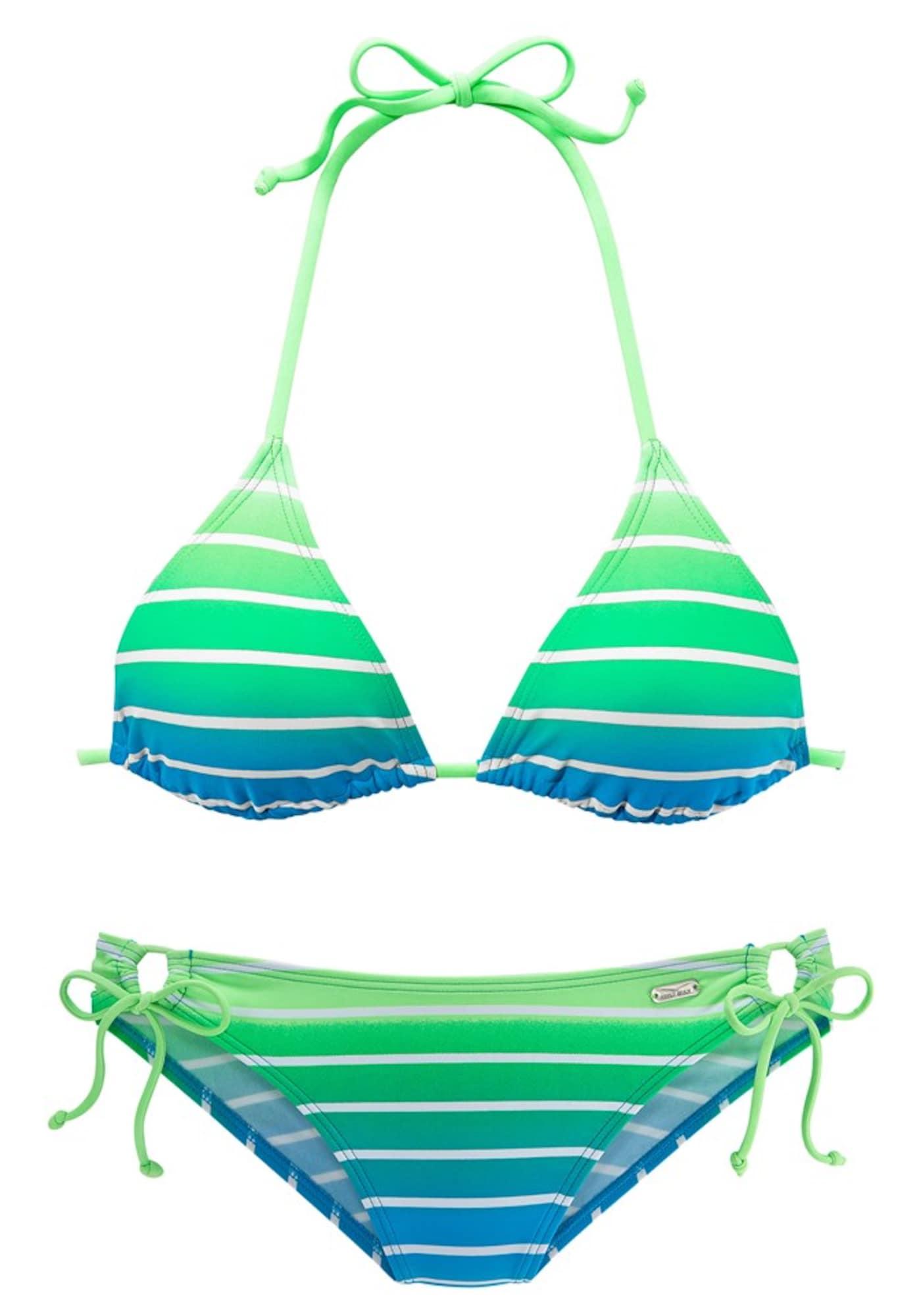 VENICE BEACH Bikinis balta / dangaus žydra / neoninė žalia