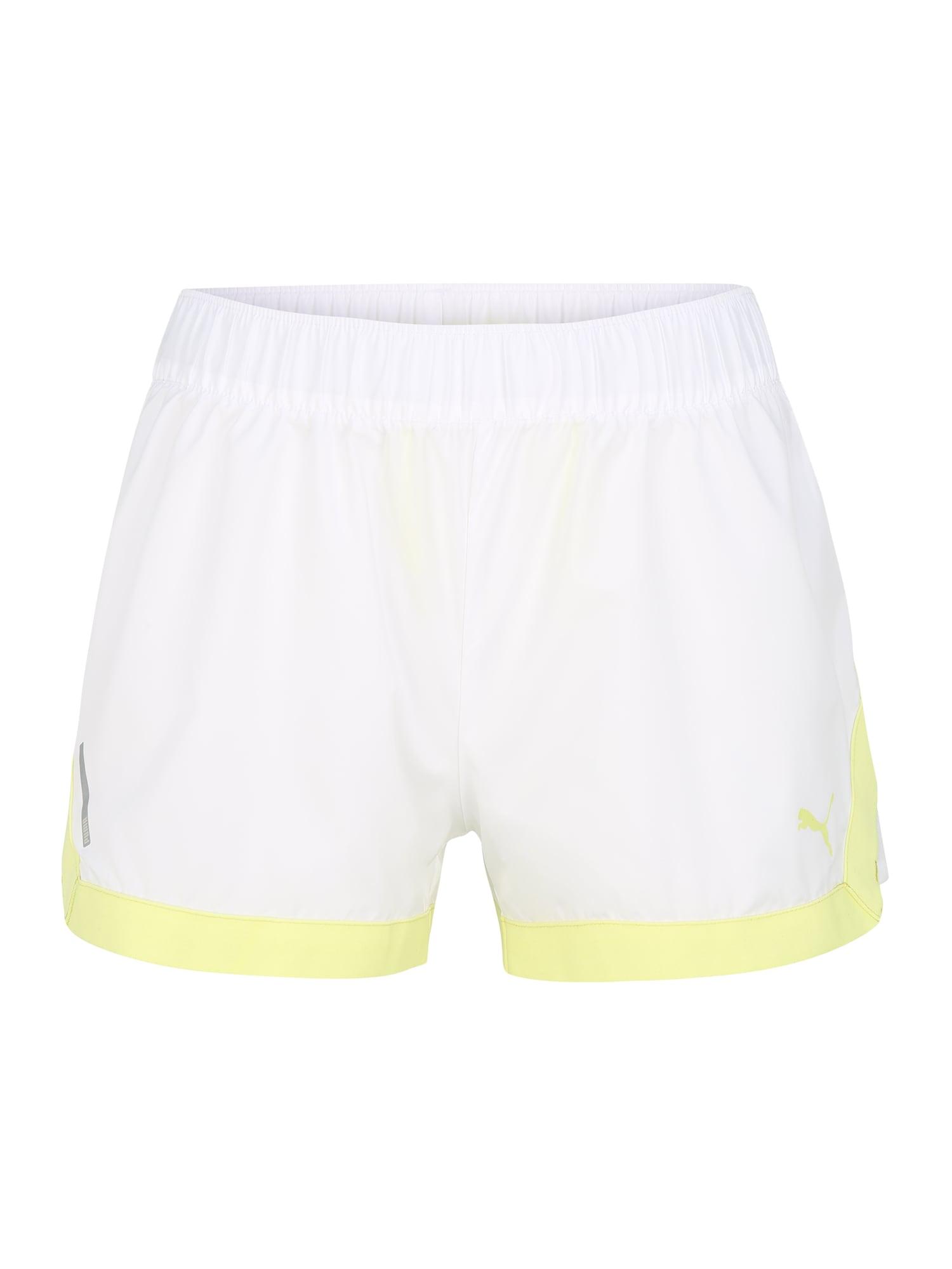PUMA Sportinės kelnės balta / neoninė geltona