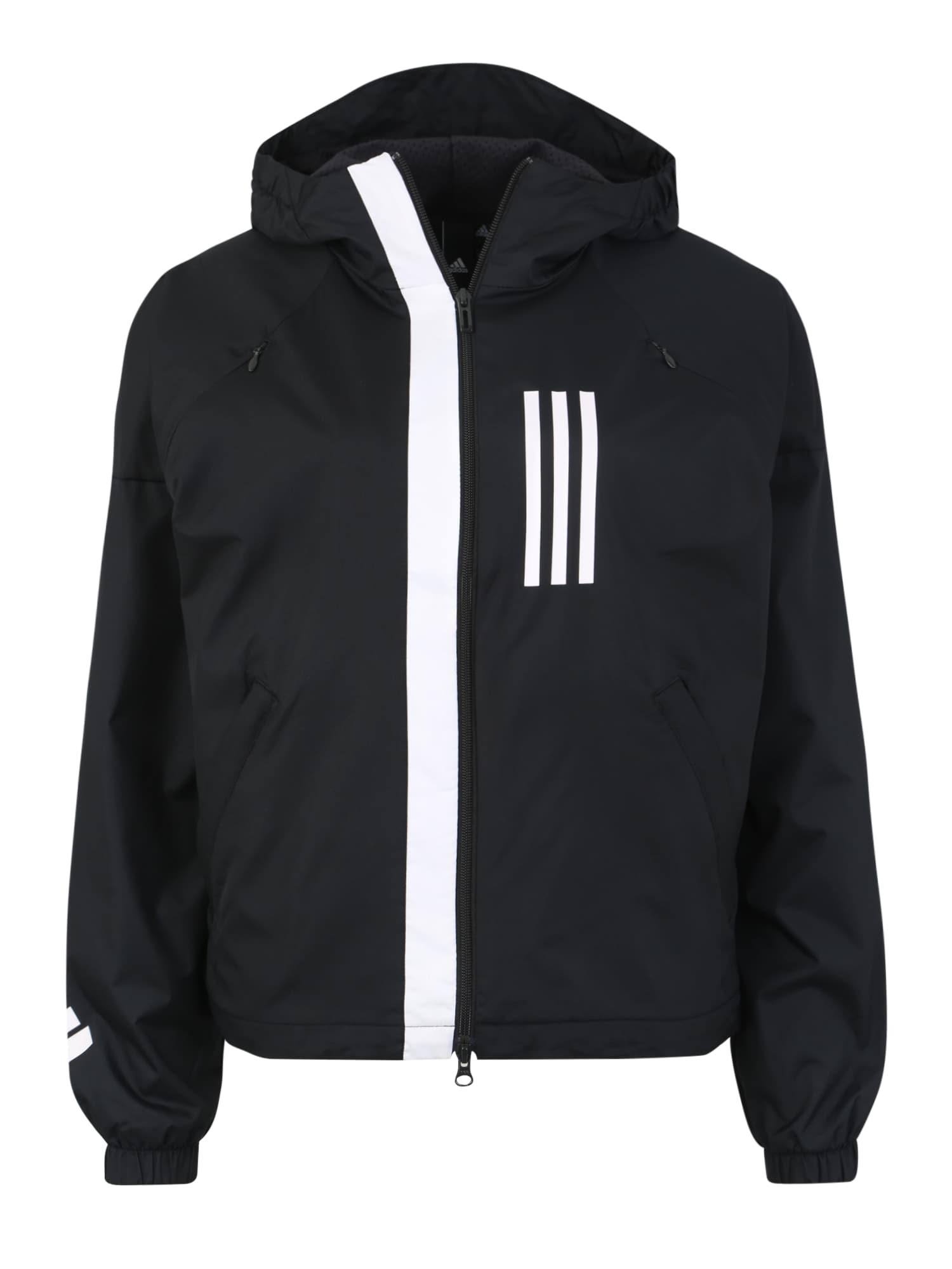 Sportovní bunda Fleece-Lined WND černá bílá ADIDAS PERFORMANCE