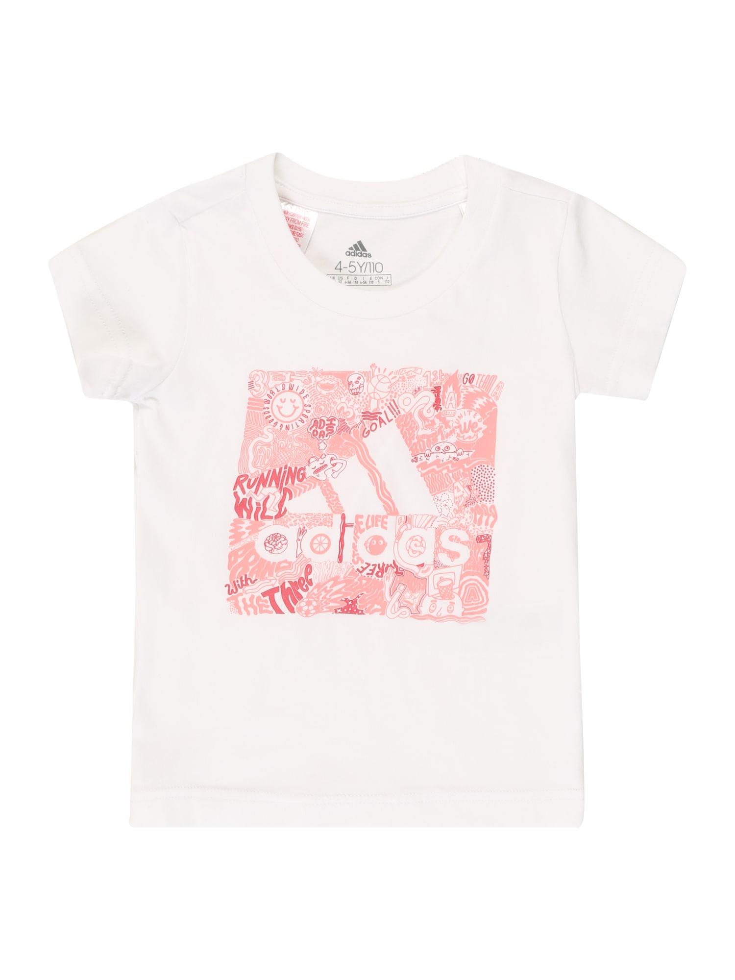 ADIDAS PERFORMANCE Sportiniai marškinėliai pastelinė raudona / balta / rožių spalva