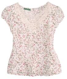 Damen Trachtenbluse mit Blumendesign beige,grün,rosa | 04250703739493