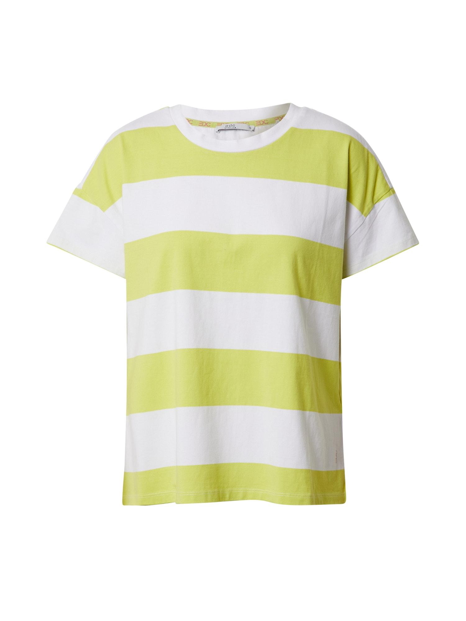 EDC BY ESPRIT Marškinėliai geltona / balta