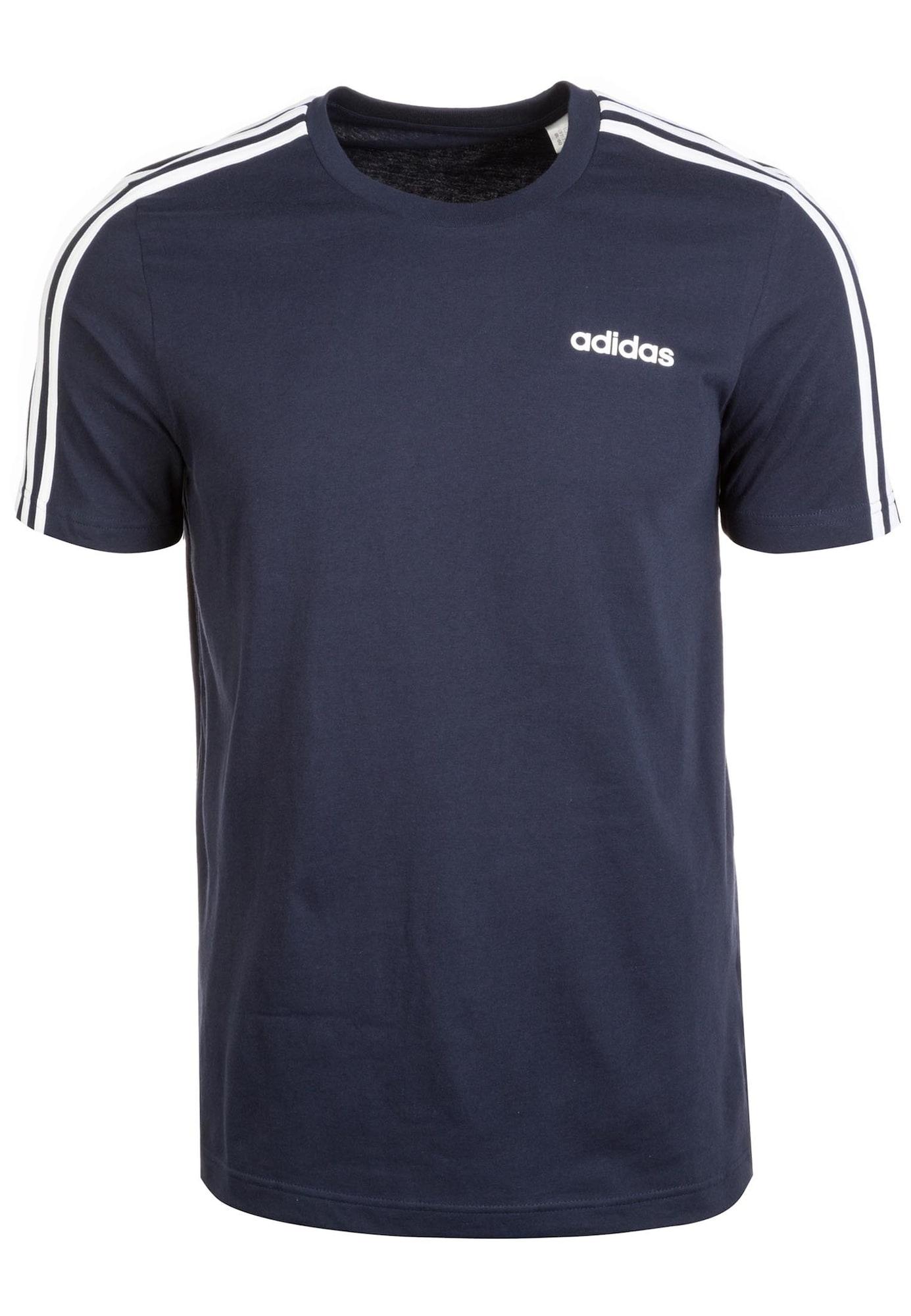 ADIDAS PERFORMANCE Sportiniai marškinėliai 'Essentials 3 Stripes' balta / tamsiai mėlyna