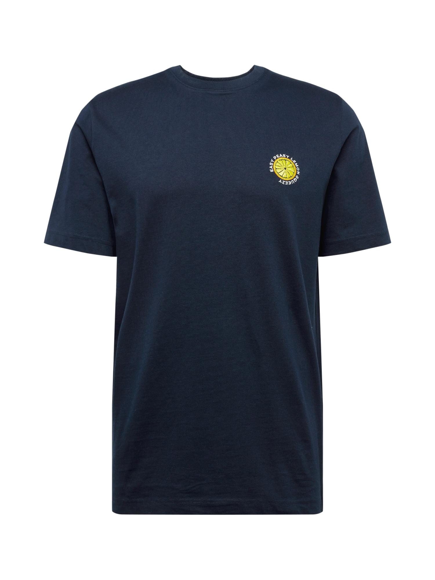 SELECTED HOMME Marškinėliai 'SLHGILROY EMB SS O-NECK TEE W' tamsiai mėlyna