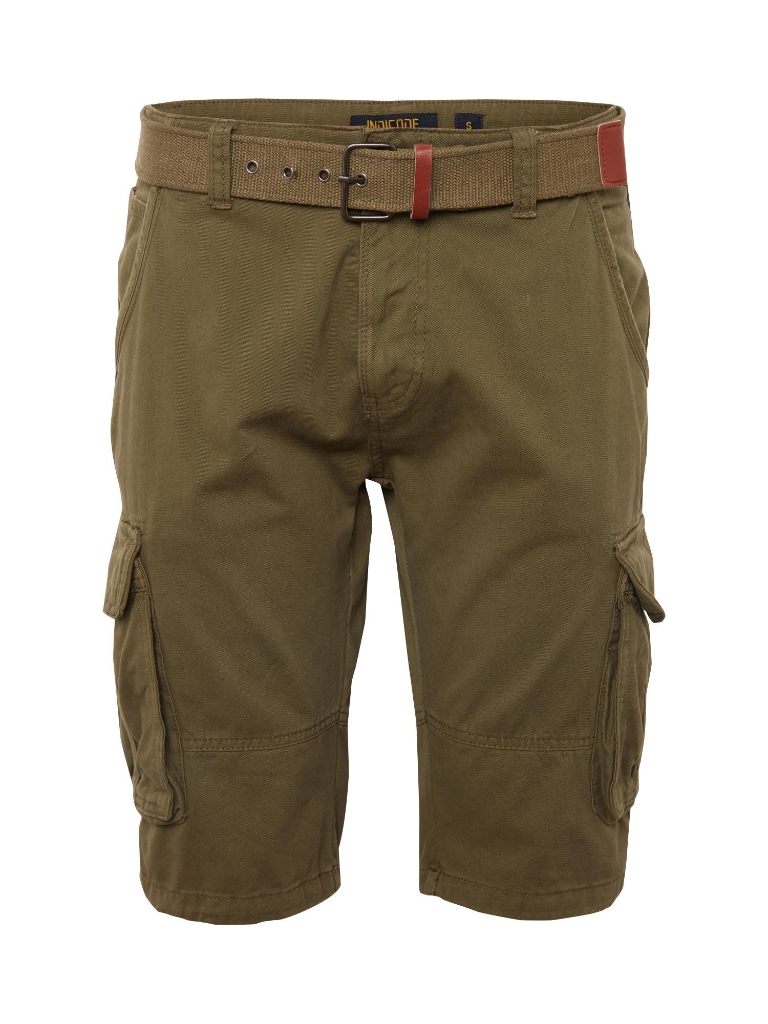 INDICODE JEANS Laisvo stiliaus kelnės 'Monroe' tamsiai žalia