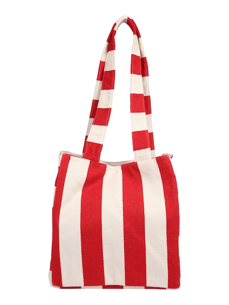 Shopper für Frauen - PIECES Shopper 'PCGILLIAN CANVAS' rot weiß  - Onlineshop ABOUT YOU