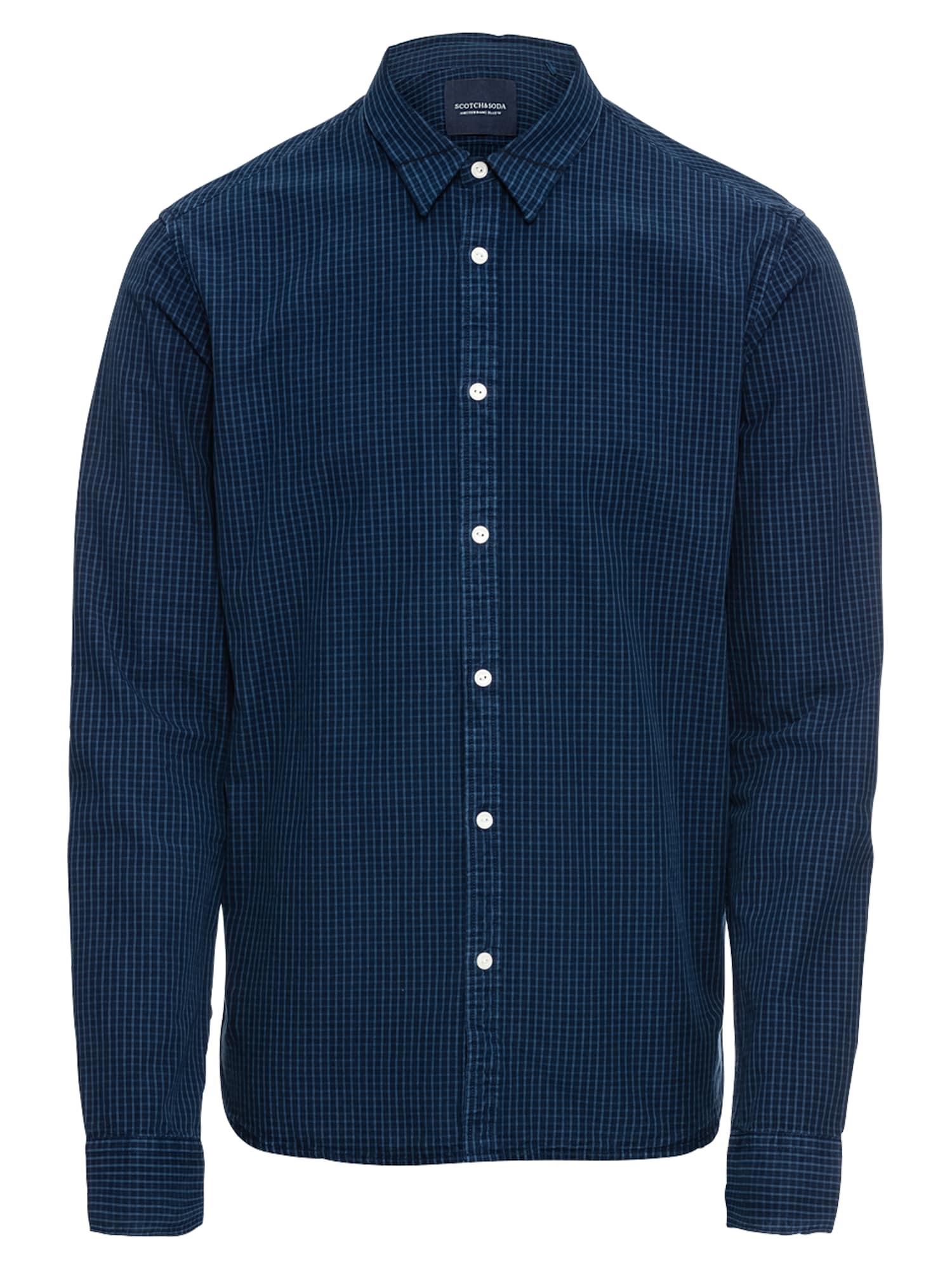 Košile SLIM FIT Ams Blauw shirt with mini checks modrá džínovina SCOTCH & SODA