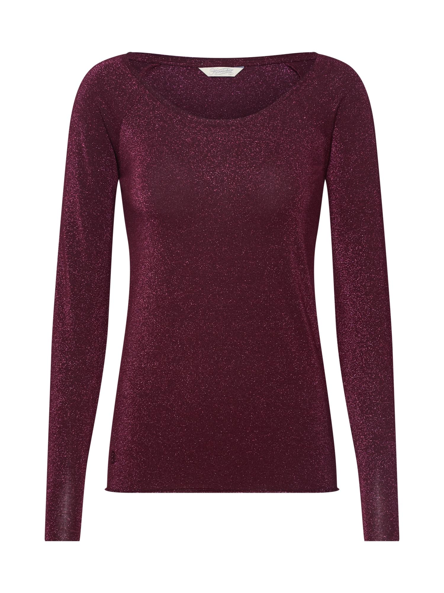 Herrlicher Marškinėliai 'Valencia Glitter Jersey' vyno raudona spalva