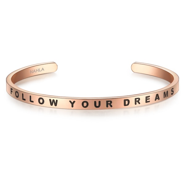 Armbaender für Frauen - Nahla Jewels Armband mit FOLLOW YOUR DREAMS Schriftzug rosegold schwarz  - Onlineshop ABOUT YOU