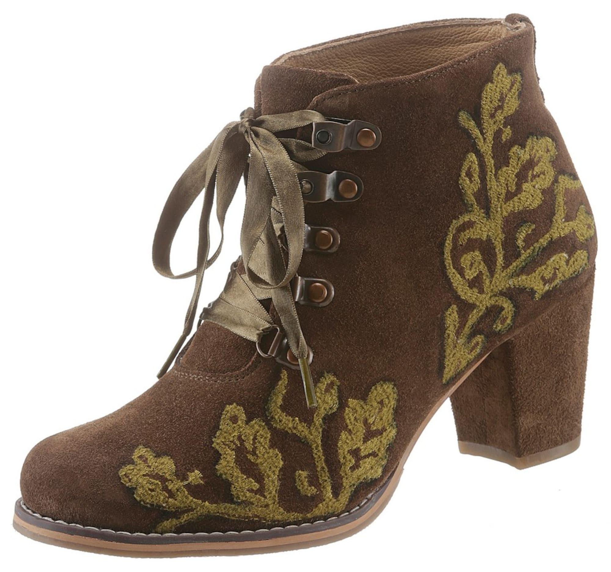best sneakers 58ef4 45d27 AboutYou Damen SPIETH & WENSKY Trachtenstiefelette mit Stickerei khaki |  04059829271432