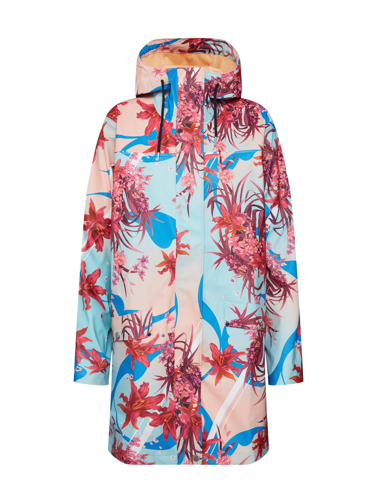 Přechodný kabát W MOSS RAIN COAT modrá mix barev pink HELLY HANSEN