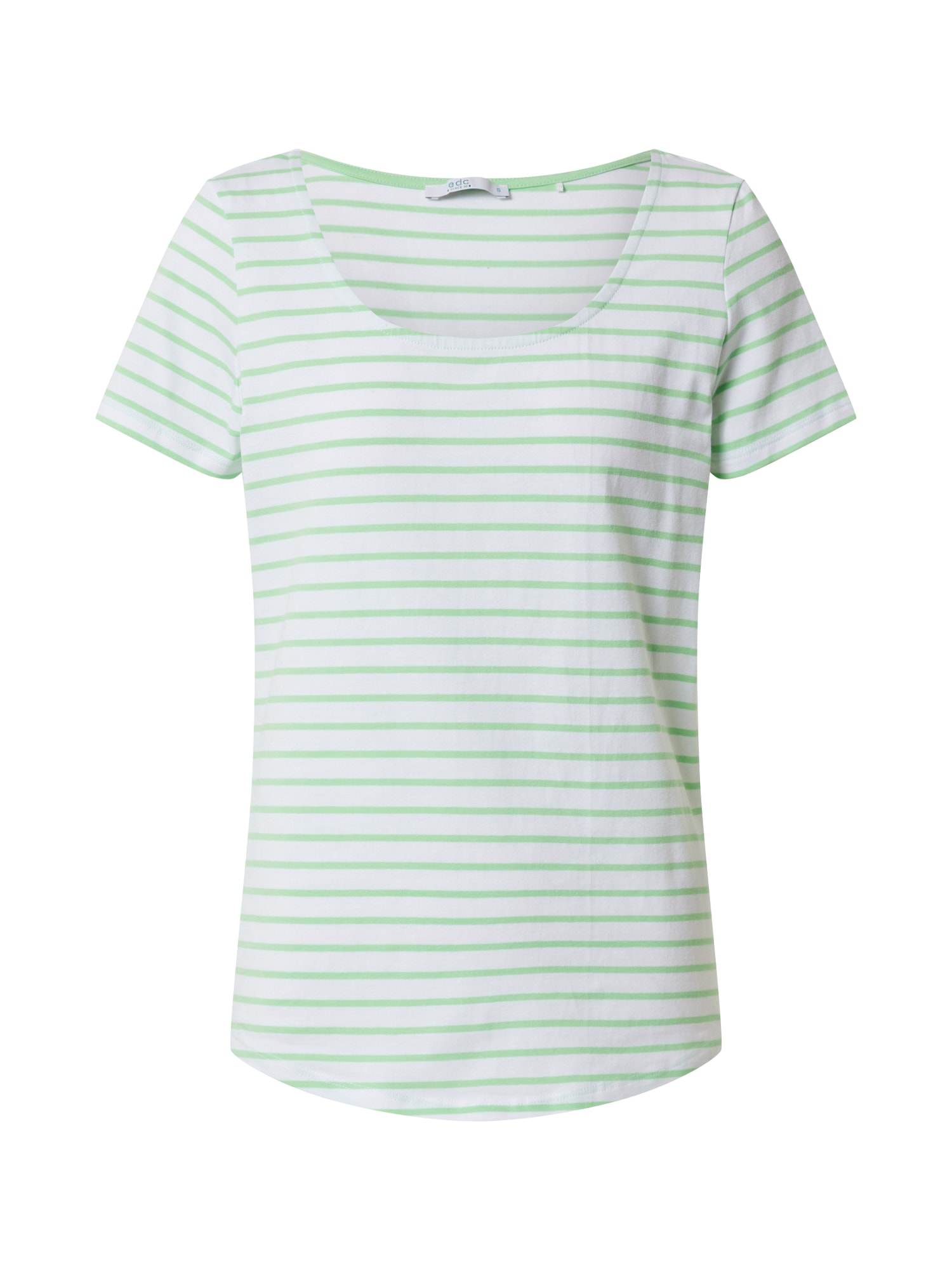 EDC BY ESPRIT Marškinėliai šviesiai žalia / balta