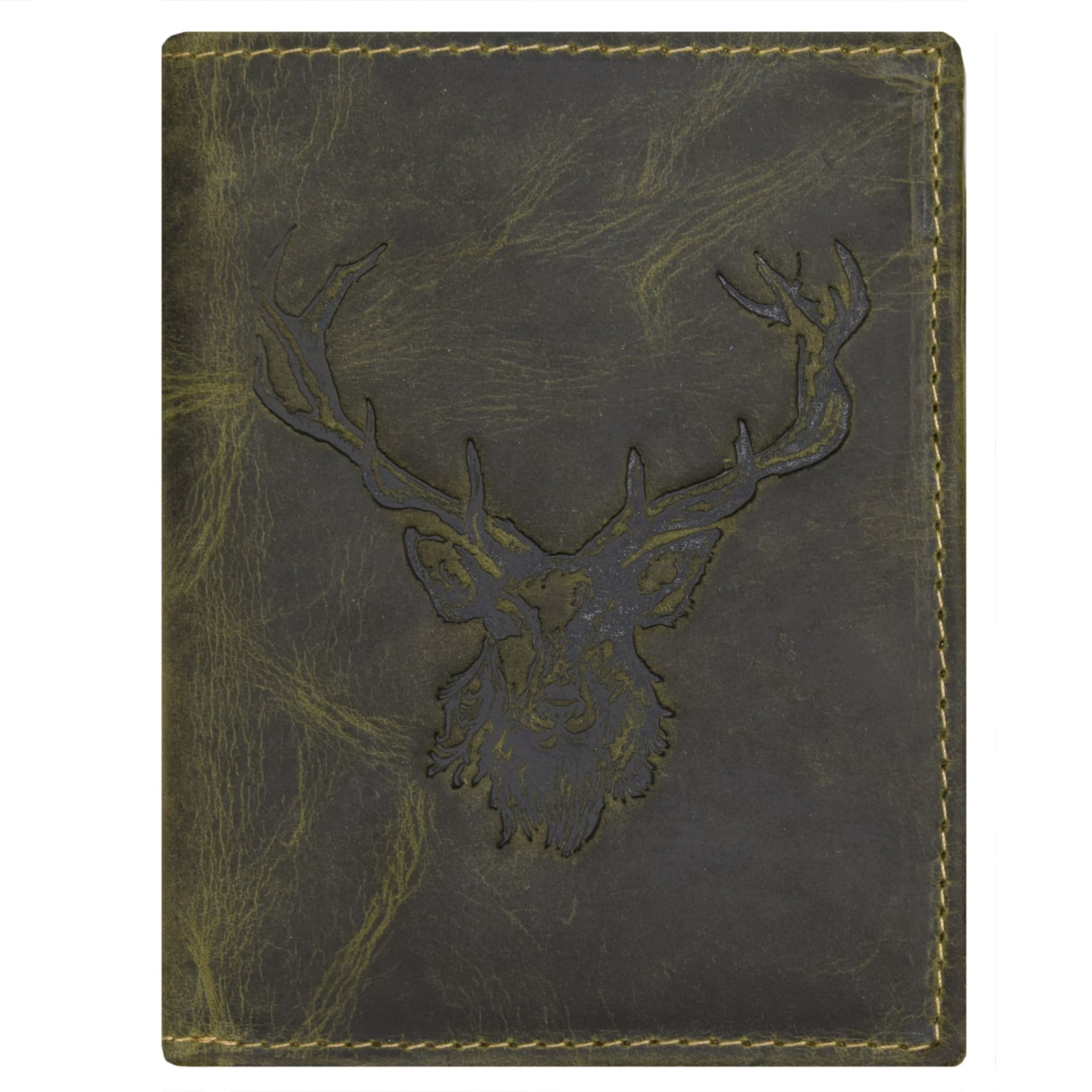 Herren GREENBURRY Geldbörse 'Vintage' grün, schwarz | 04047546970127