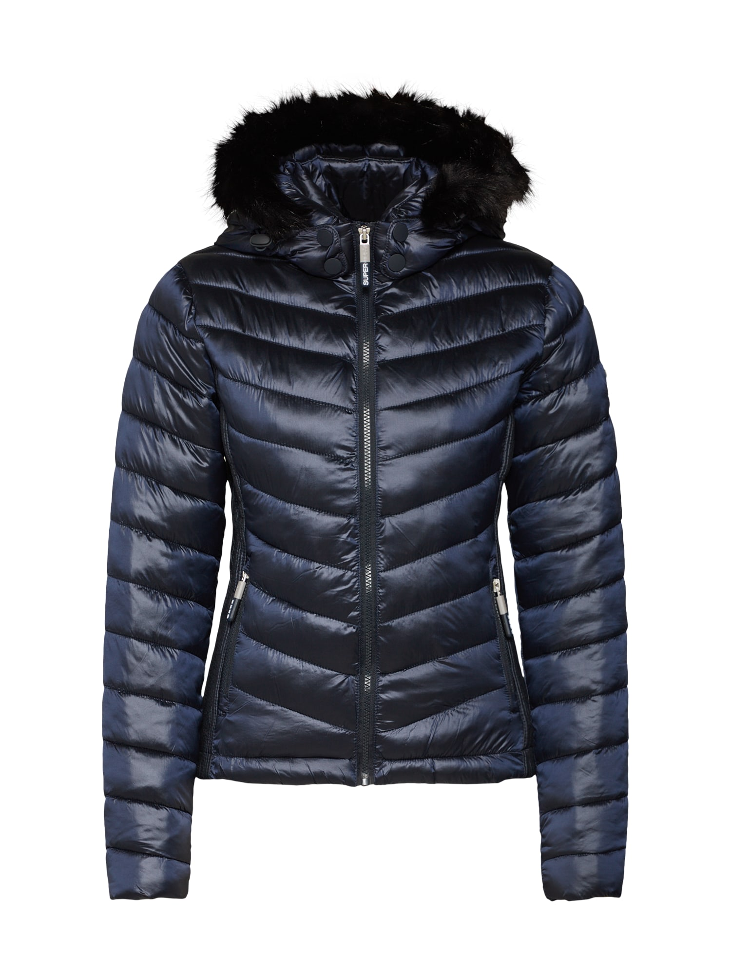 a80292068e6 Superdry Dames Winterjas Hooded Luxe Chevron Fuji Nachtblauw superdry kopen  in de aanbieding