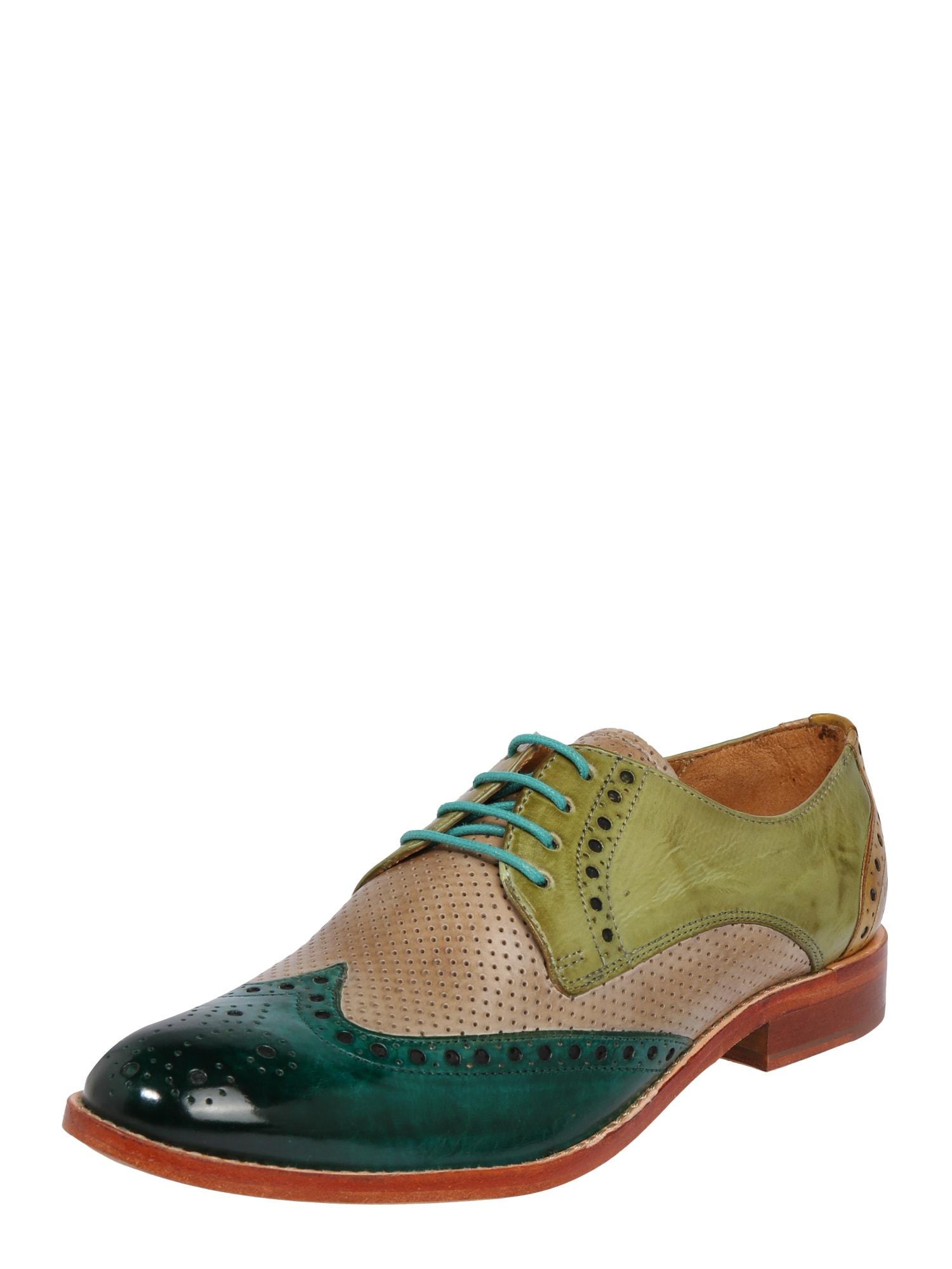 MELVIN & HAMILTON Šnurovacie topánky 'Amelie'  zelená / koňak