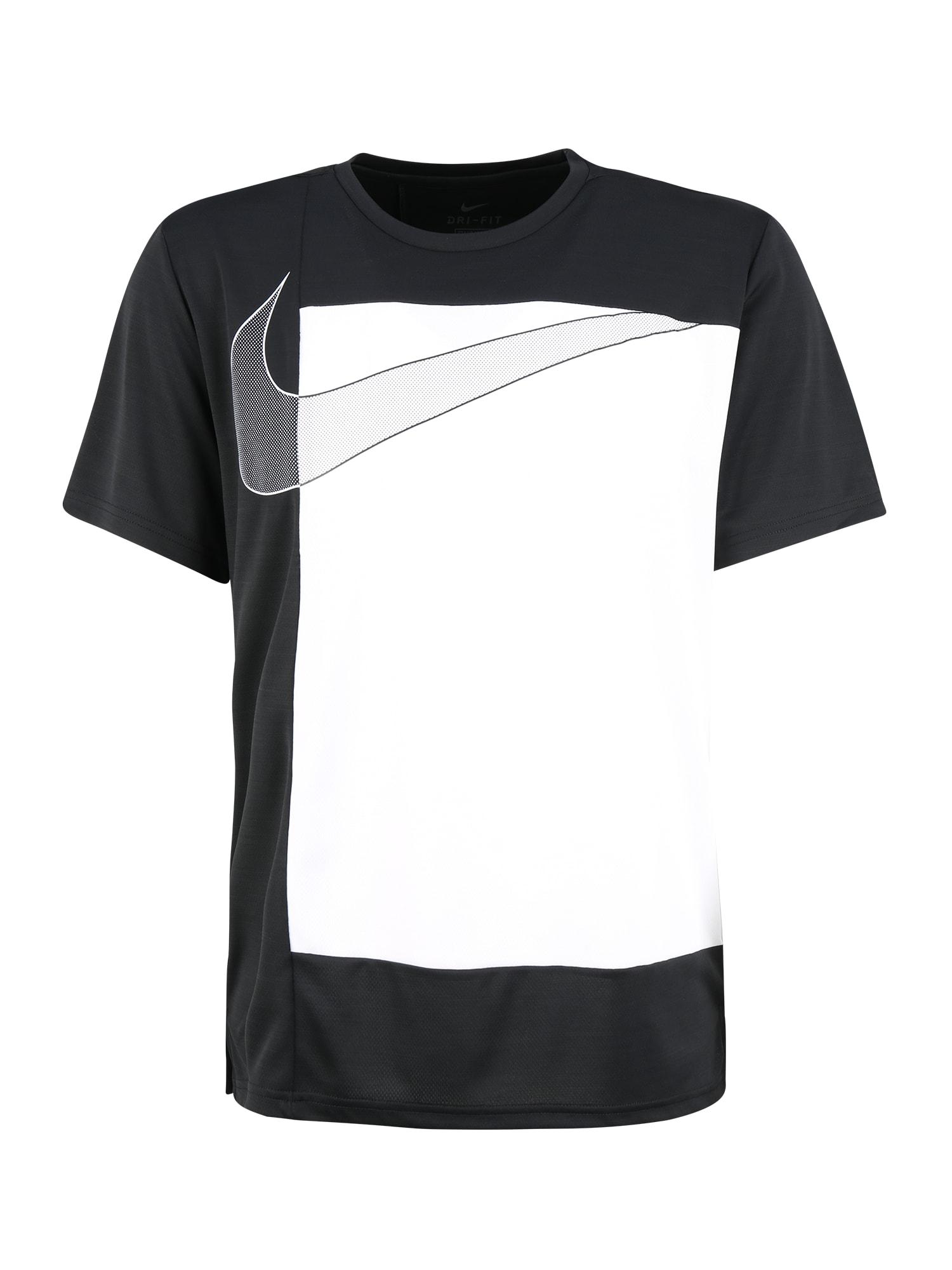NIKE Sportiniai marškinėliai 'Superset' balta / juoda