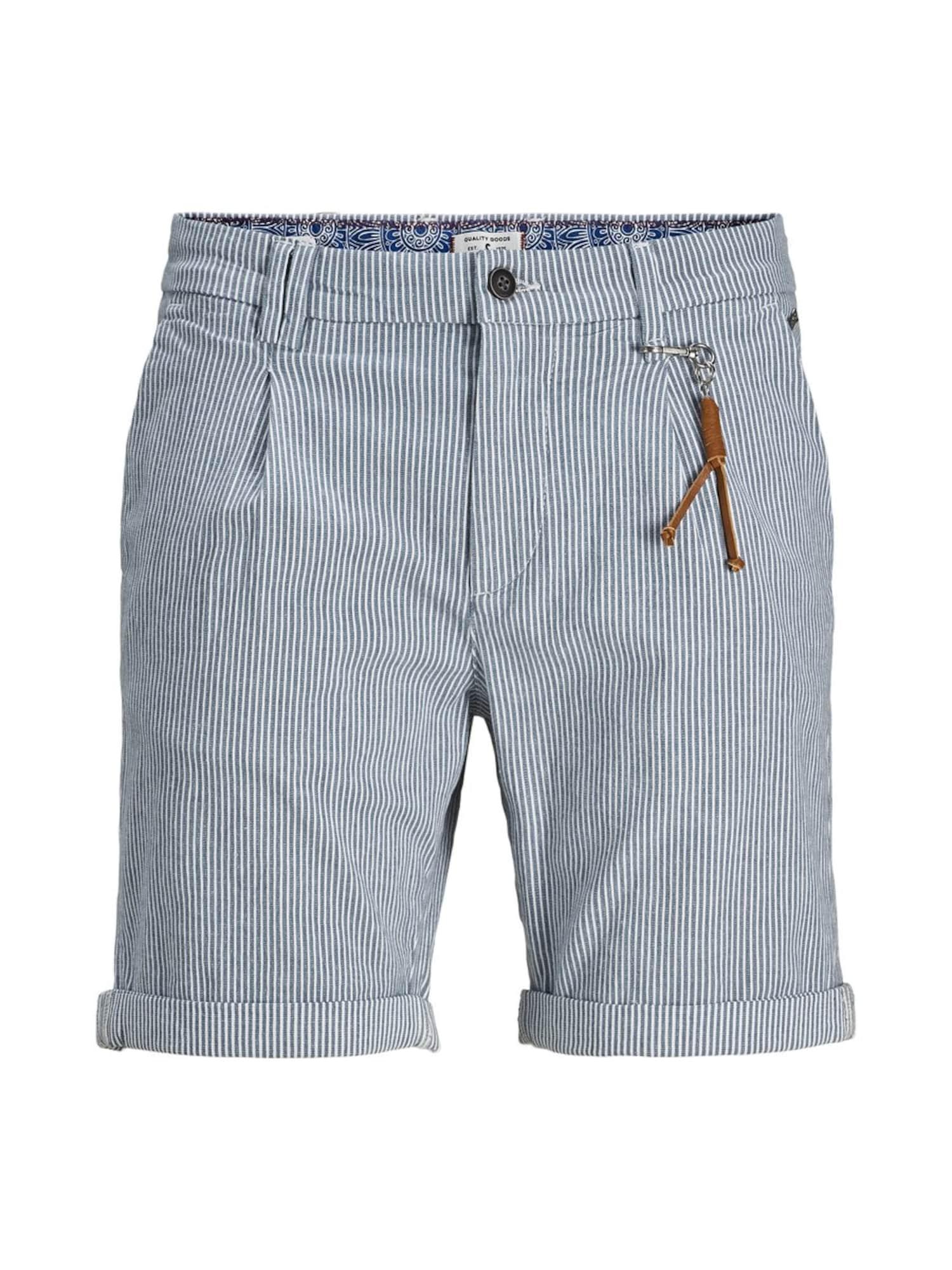 JACK & JONES Plisované nohavice 'Milton AKM 935'  modré / biela