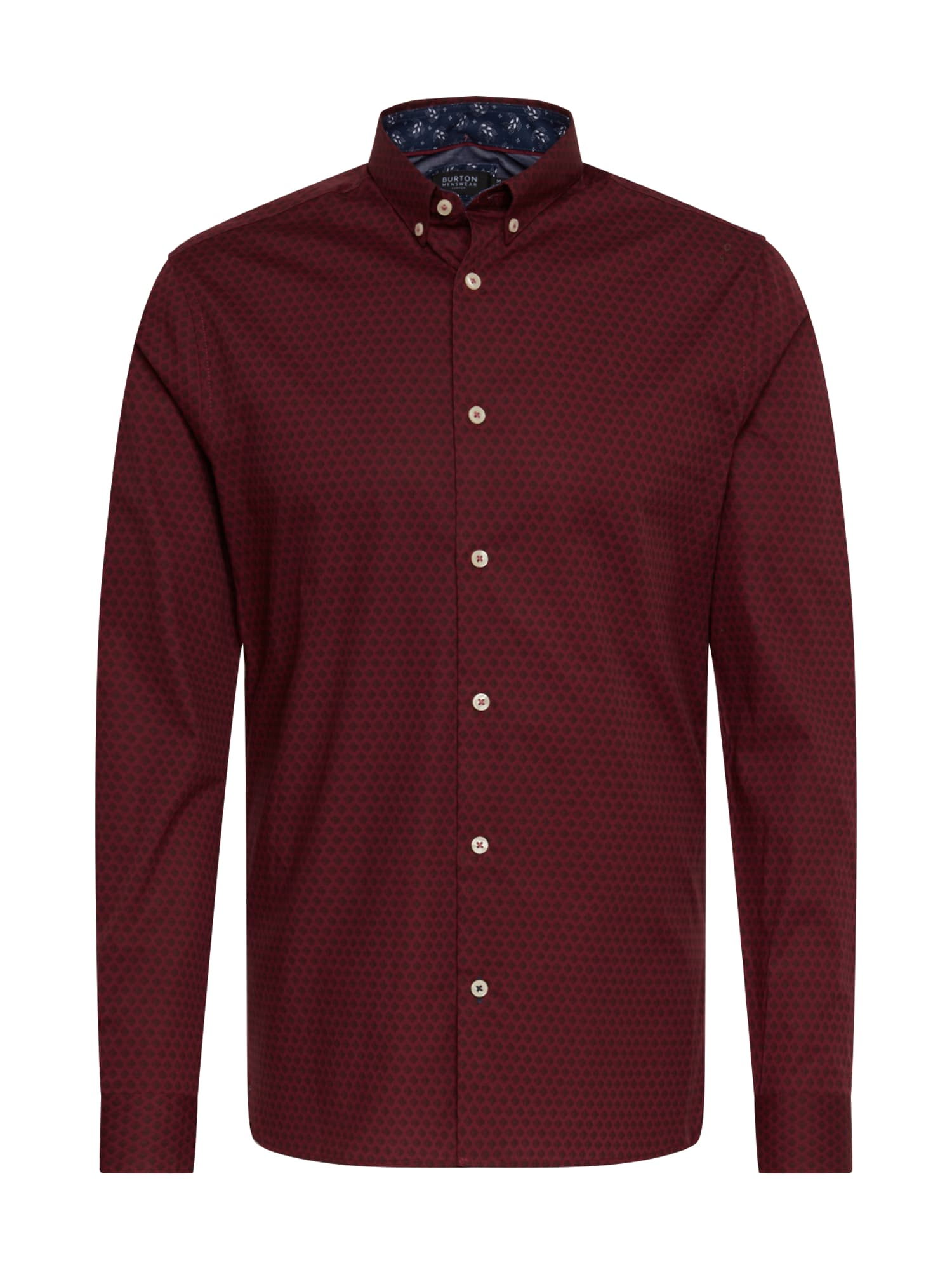 BURTON MENSWEAR LONDON Dalykiniai marškiniai 'BURG ARIAL DIAMND' burgundiško vyno spalva