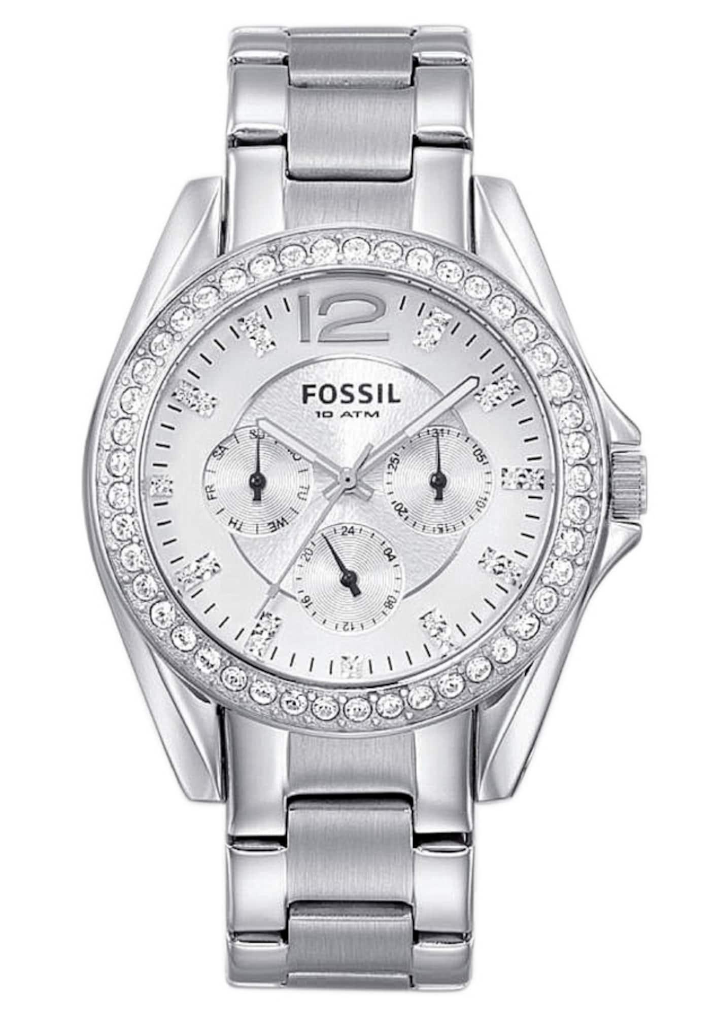 Analogové hodinky RILEY stříbrná bílá FOSSIL