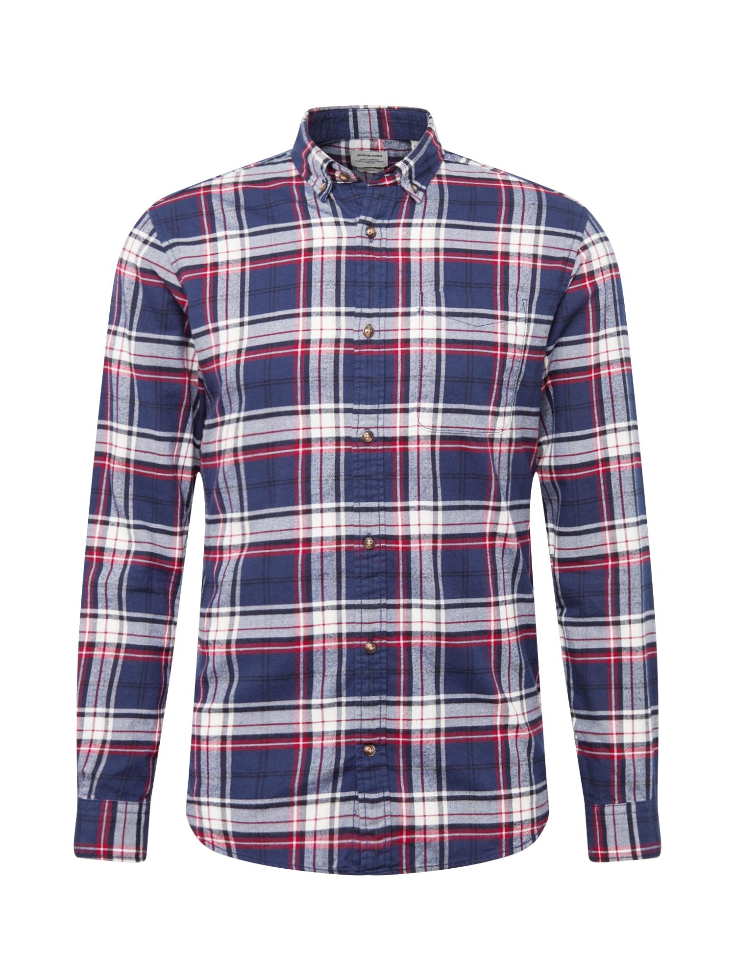 JACK & JONES Marškiniai raudona / tamsiai mėlyna / balta