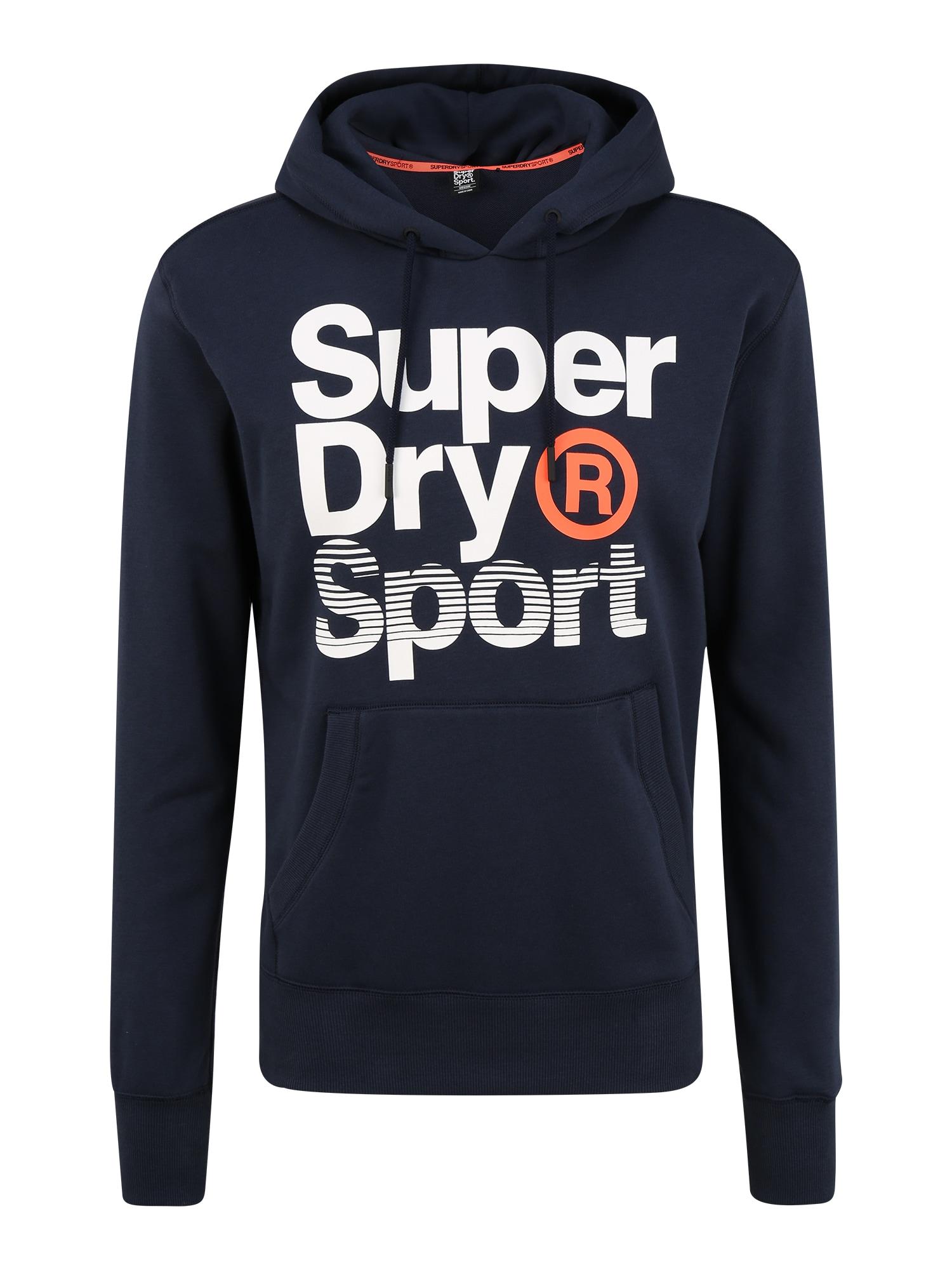 Superdry Sportinio tipo megztinis 'CORE SPORT OVERHEAD' balta / tamsiai mėlyna