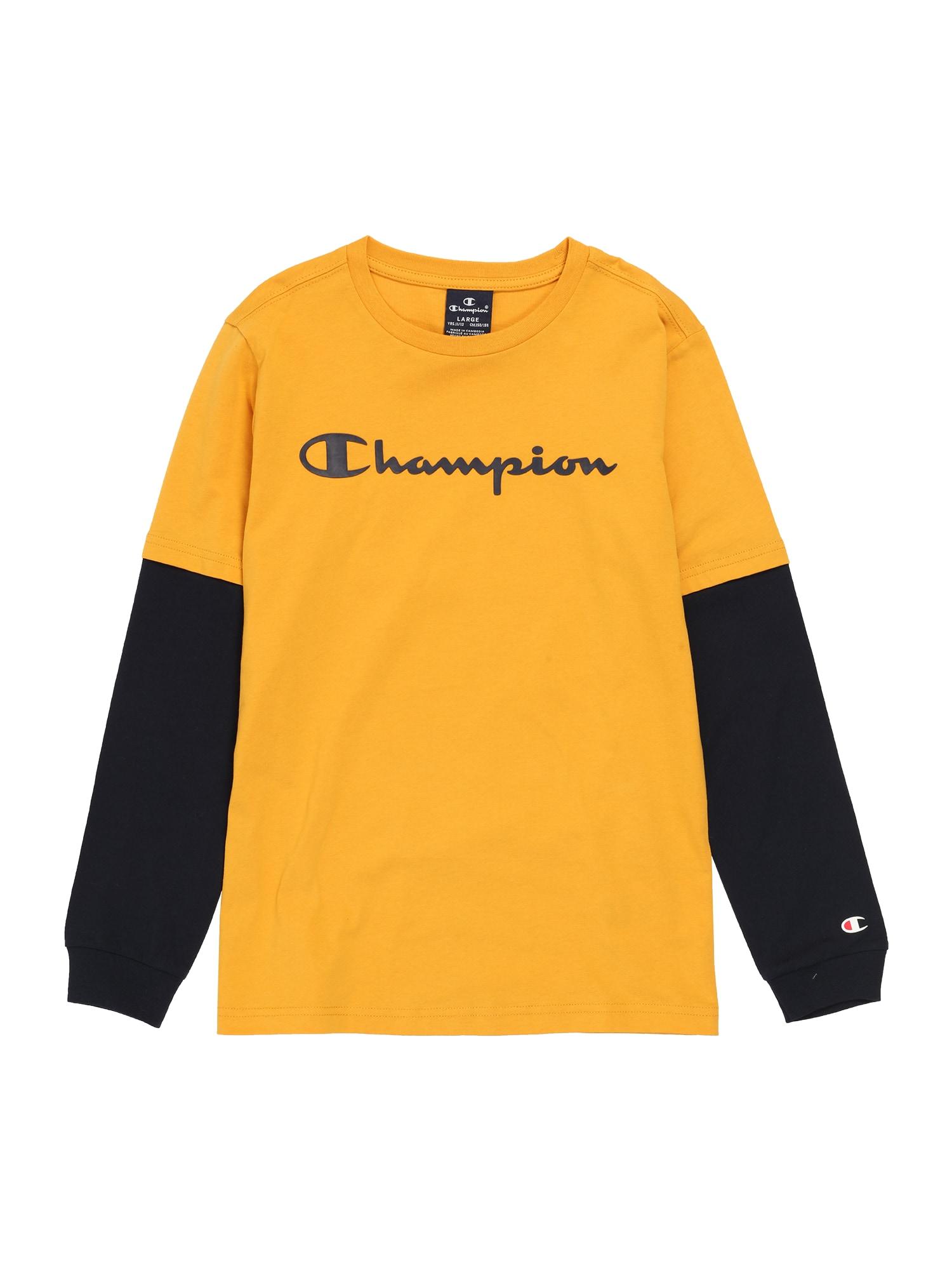Champion Authentic Athletic Apparel Marškinėliai rusvai oranžinė / juoda