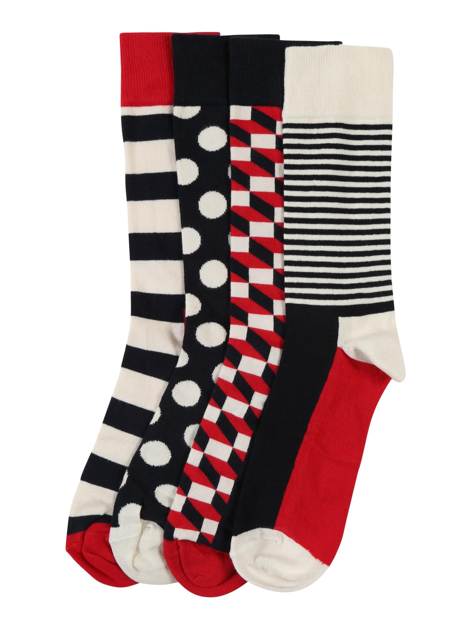 Happy Socks Kojinės pastelinė raudona / juoda / vilnos balta