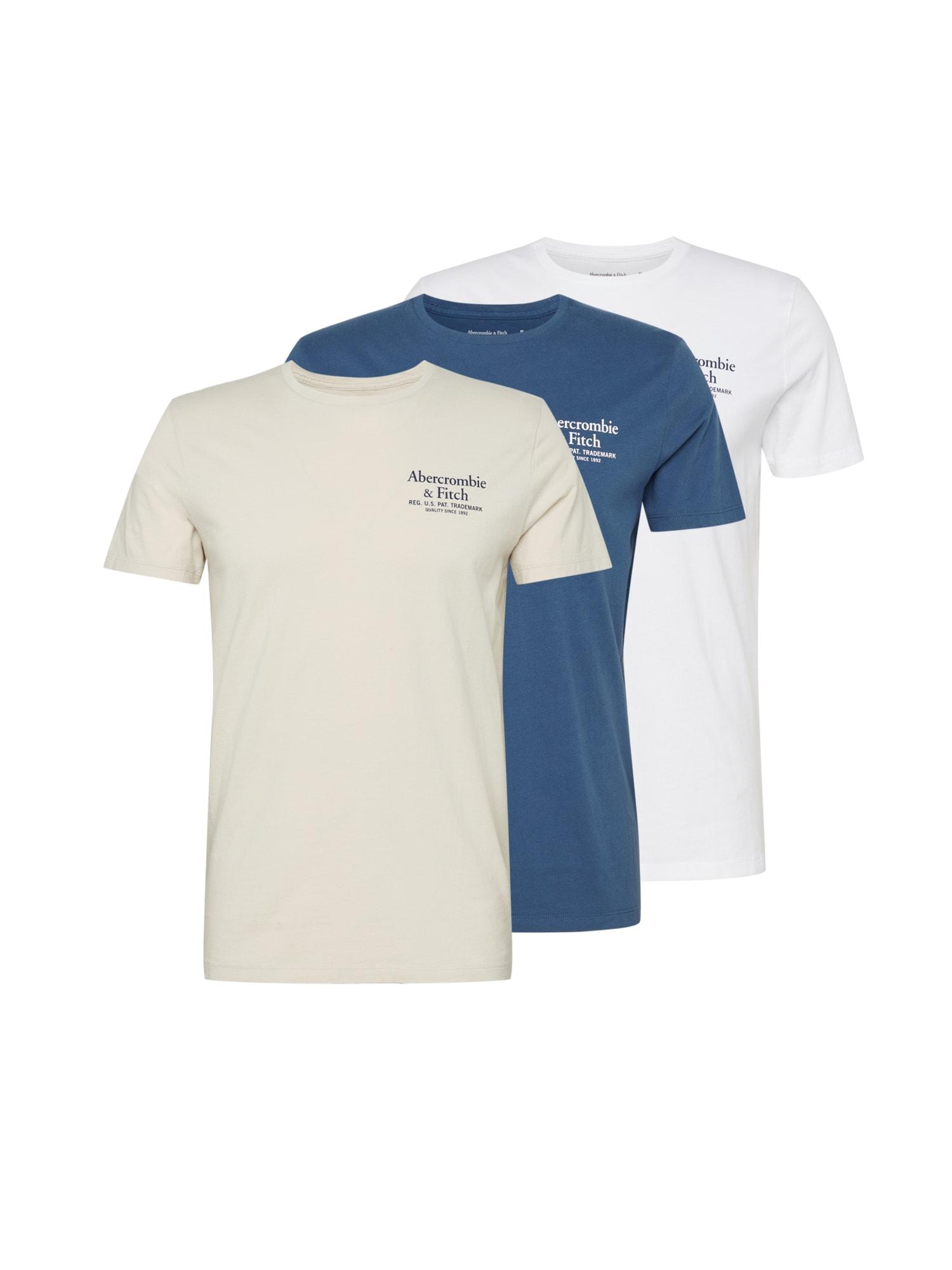 Abercrombie & Fitch Marškinėliai 'SS GRAPHIC CREW MULTI' balta / mėlyna / smėlio