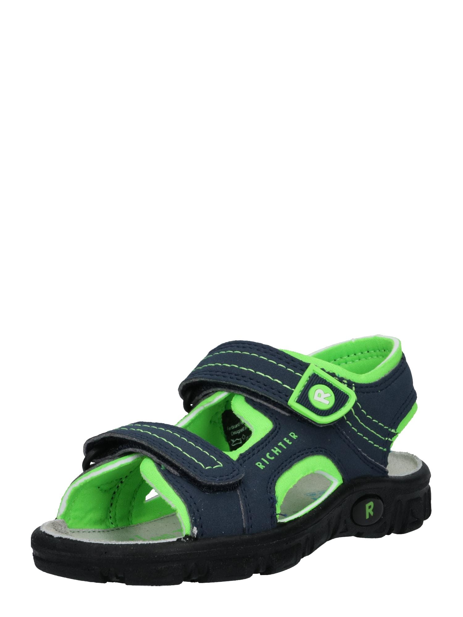 Otevřená obuv tmavě modrá svítivě zelená RICHTER