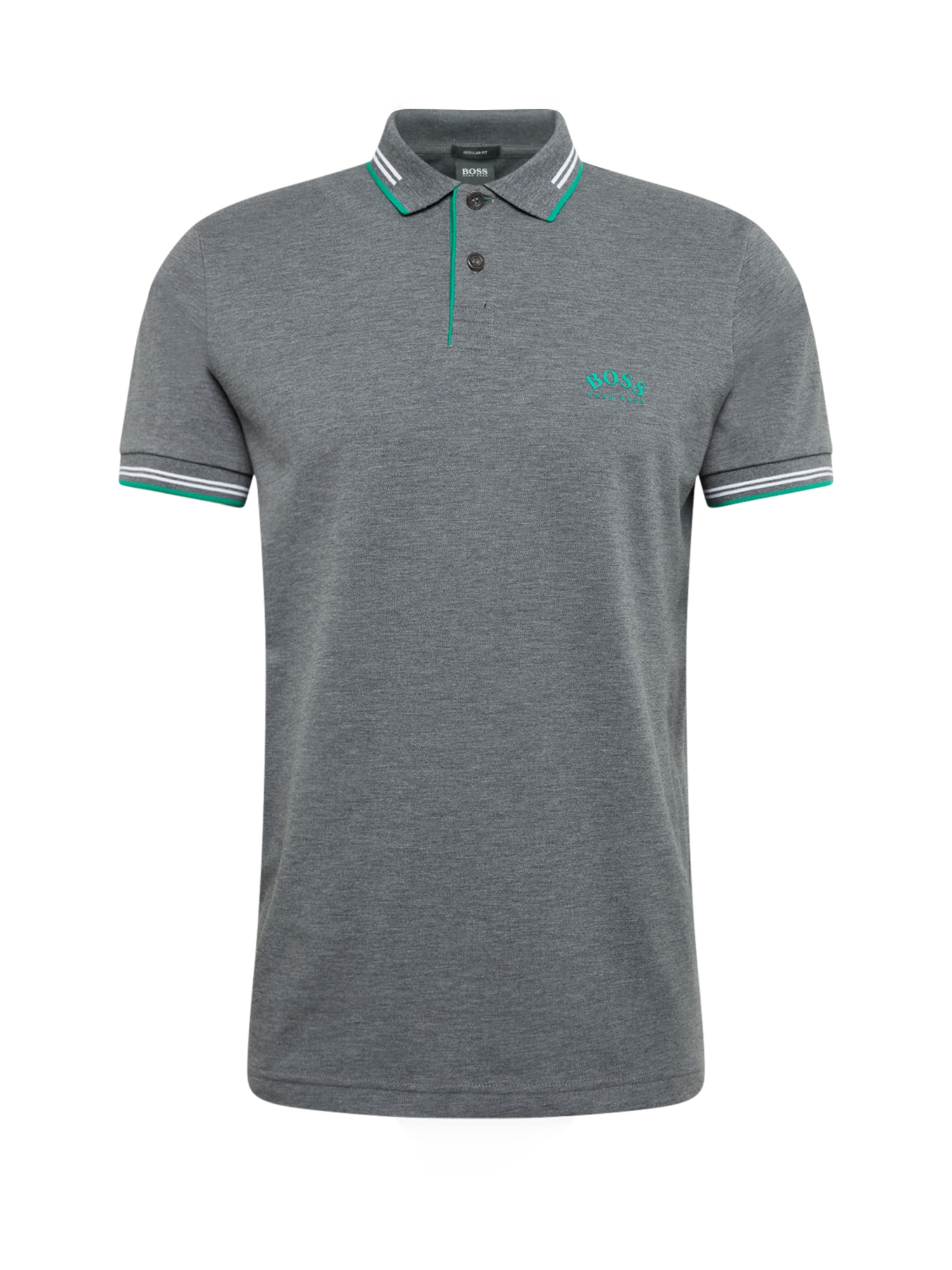 BOSS ATHLEISURE Marškinėliai 'Paul Curved' pilka
