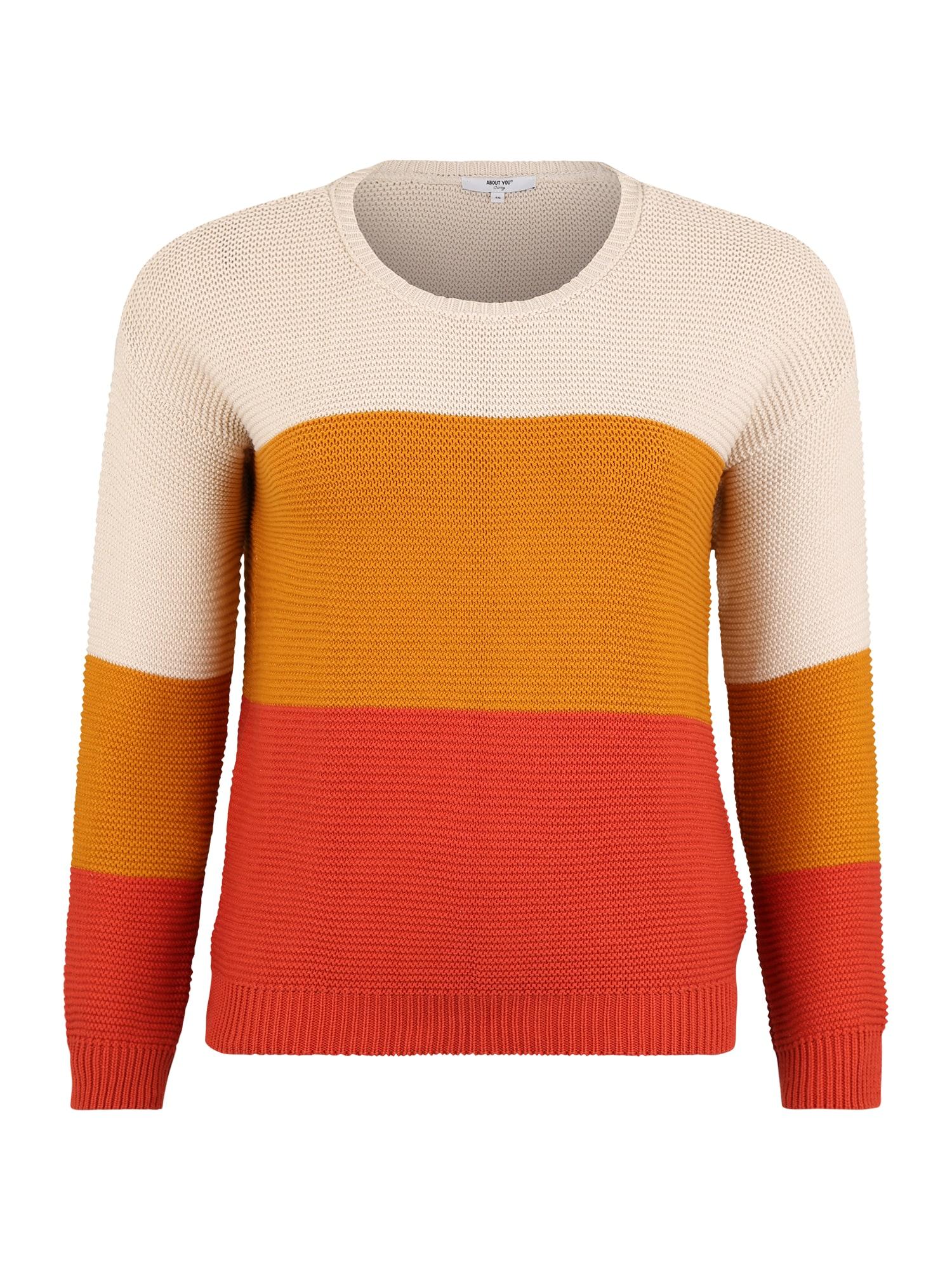 ABOUT YOU Curvy Megztinis 'Brenda' rūdžių raudona / kremo / geltona