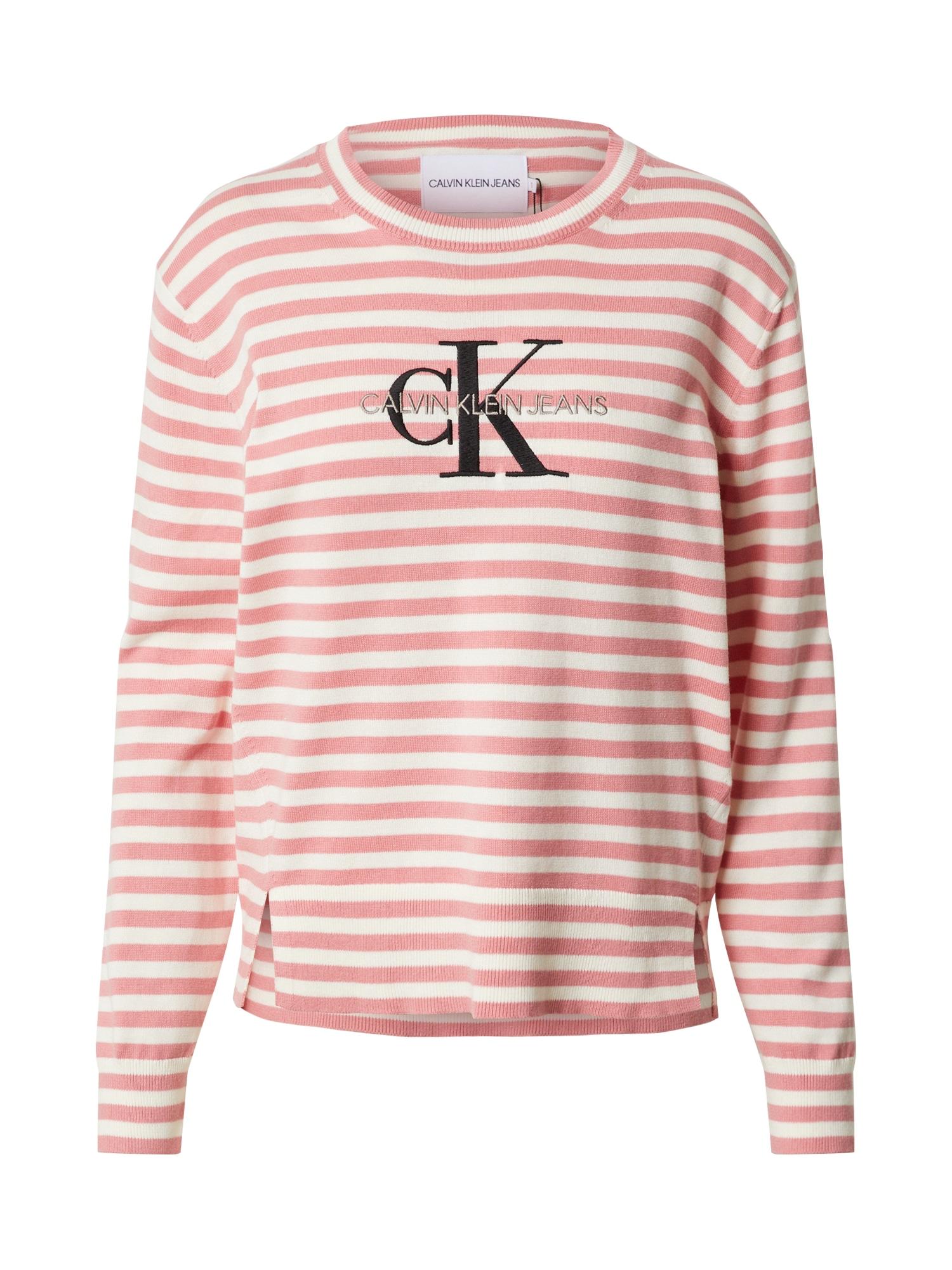 Calvin Klein Jeans Megztinis šviesiai raudona / balta