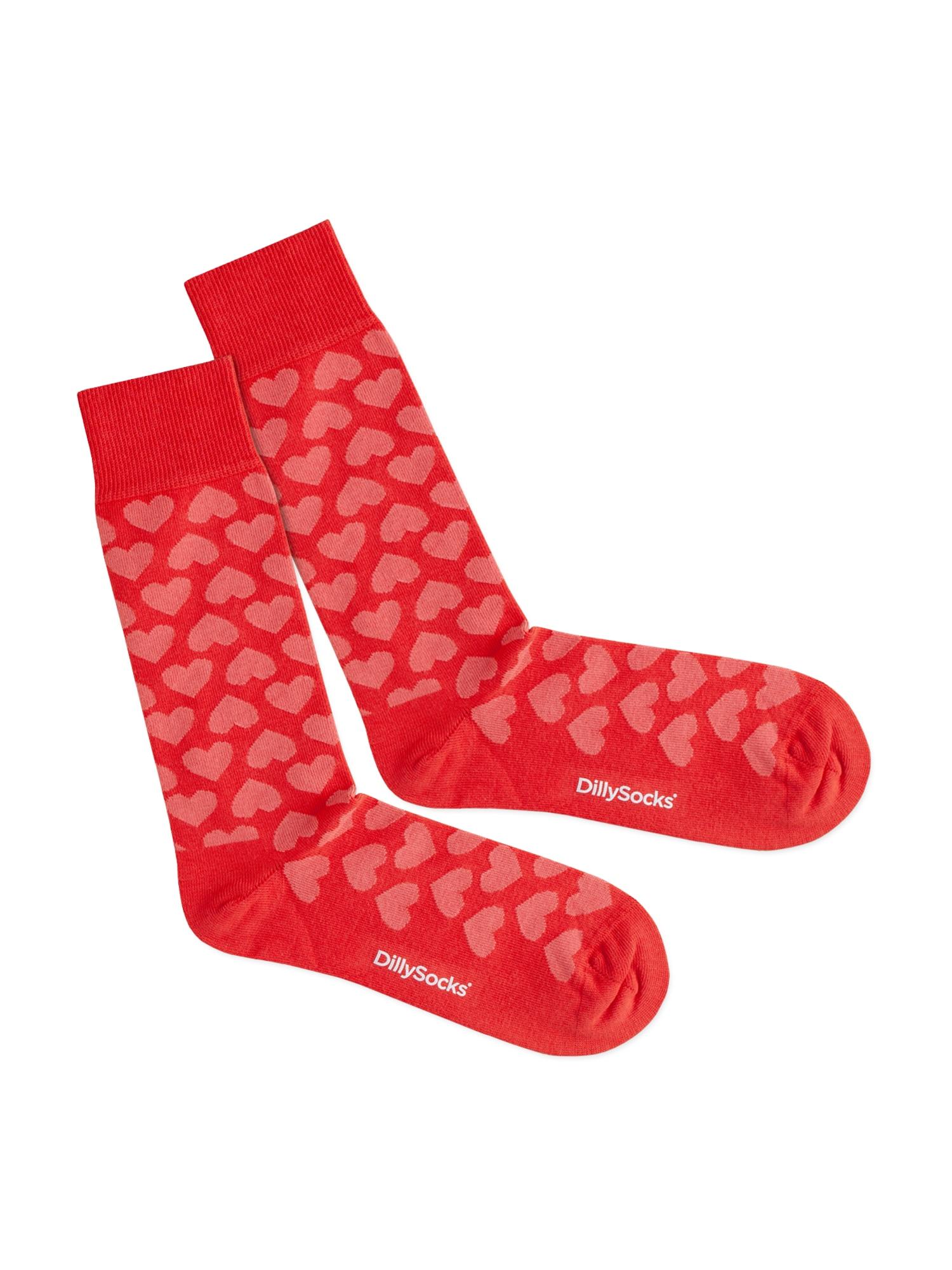 DillySocks Kojinės 'Heartful' rožinė / raudona