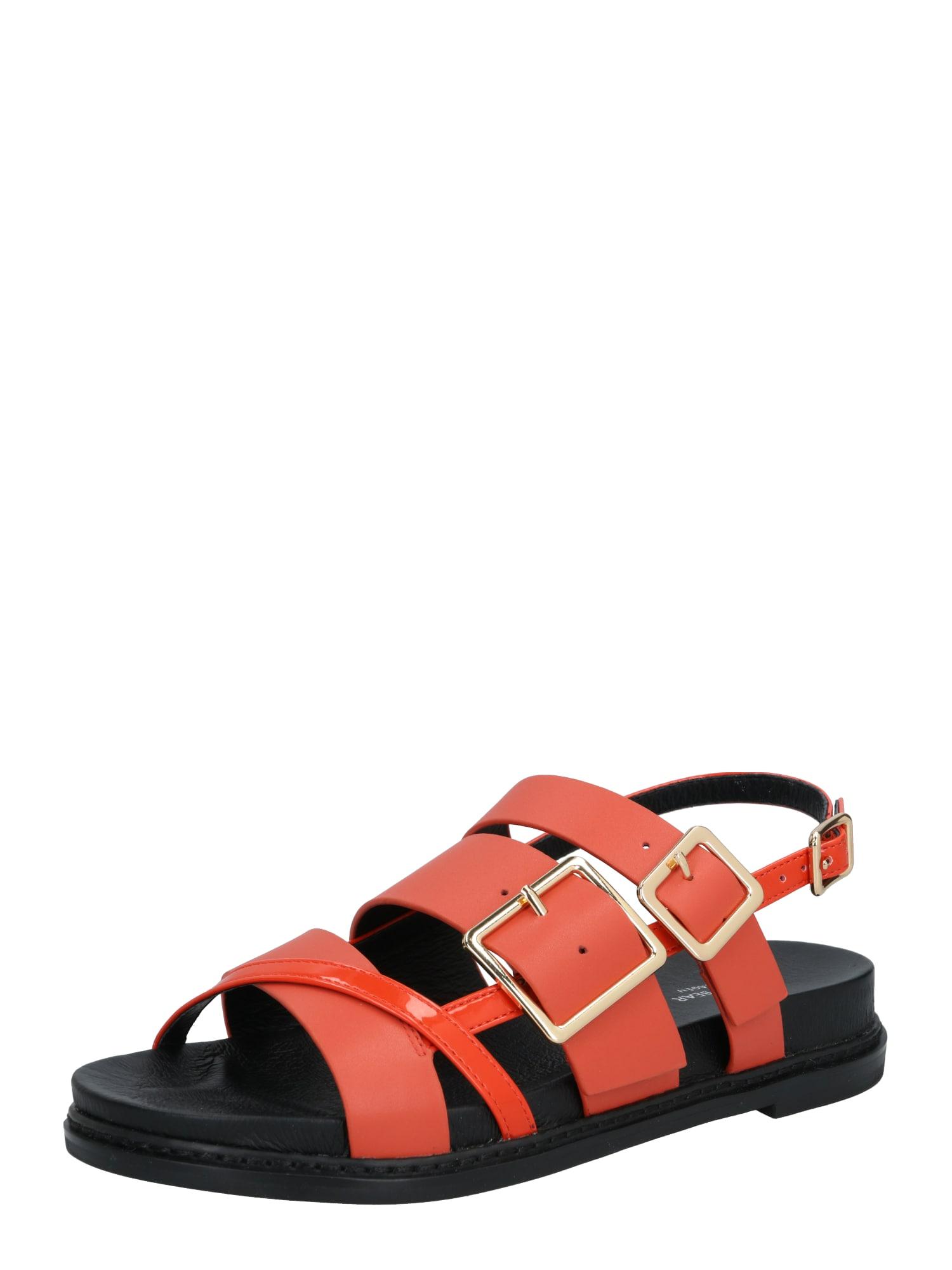 Shoe The Bear Basutės su dirželiais 'JOY MULTI STRAP L' juoda / oranžinė-raudona